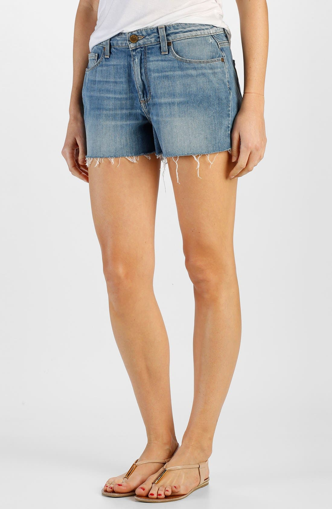 Alternate Image 1 Selected - Paige Denim 'Callie' High Rise Cutoff Denim Shorts (Tomlin)