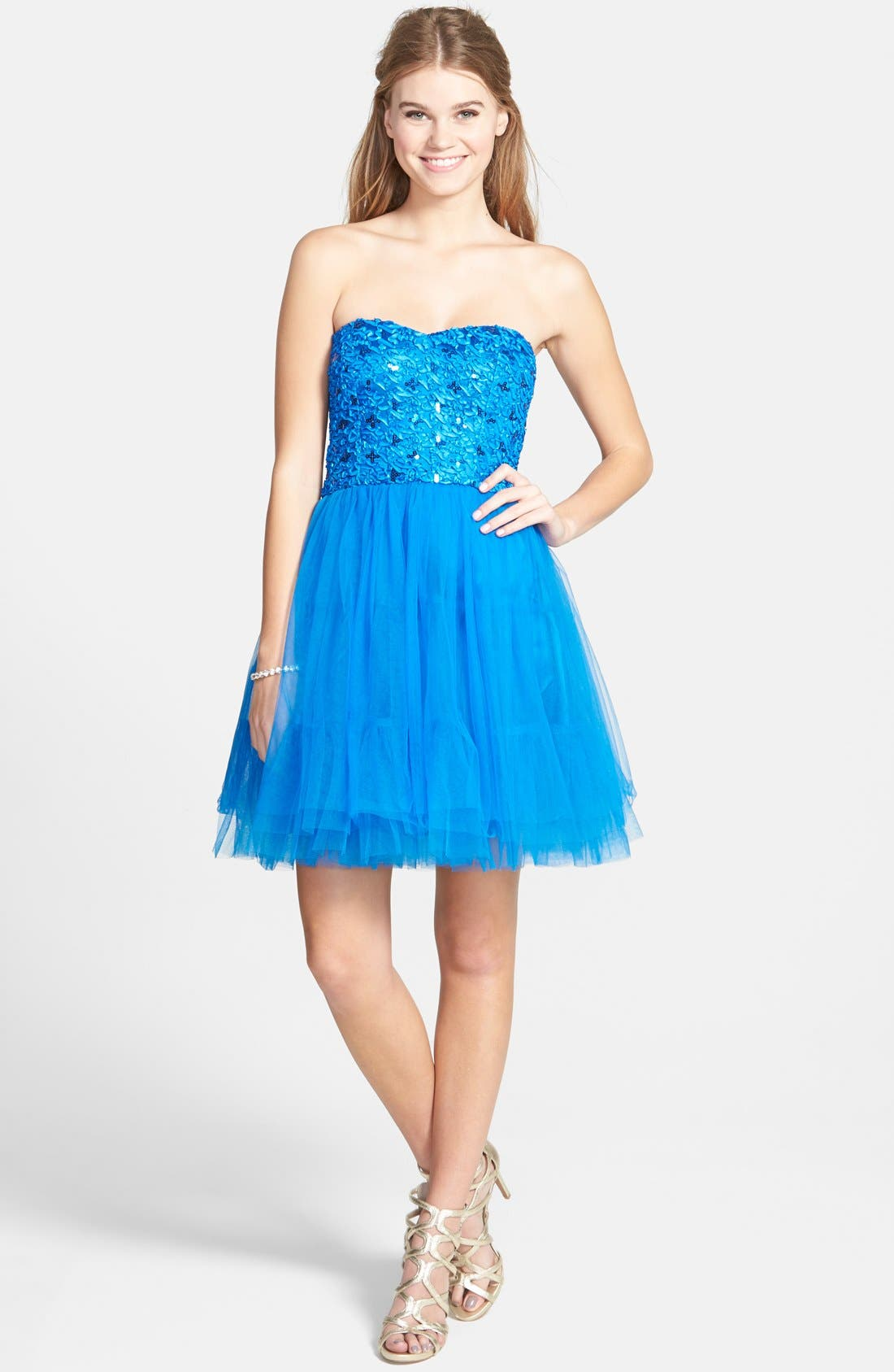 Alternate Image 1 Selected - a. drea Lace-Up Back Party Dress (Juniors)