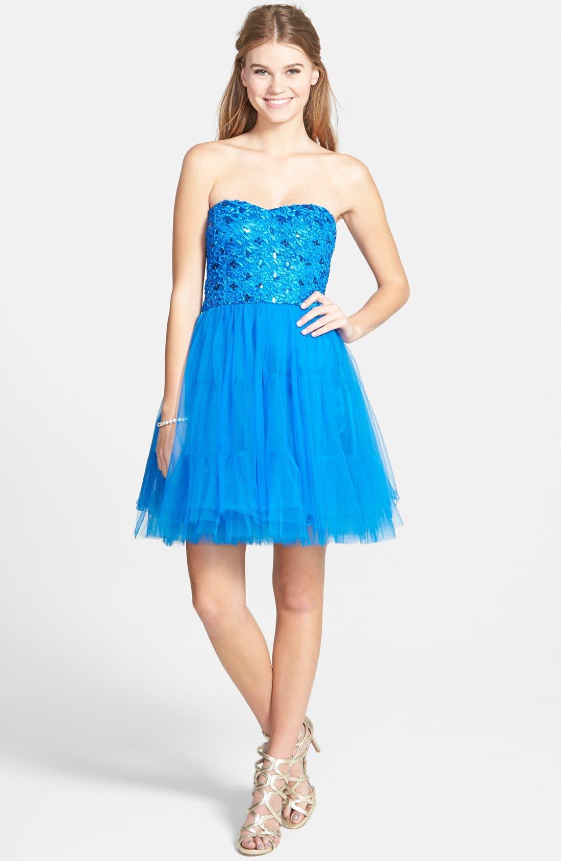 Main Image - a. drea Lace-Up Back Party Dress (Juniors)