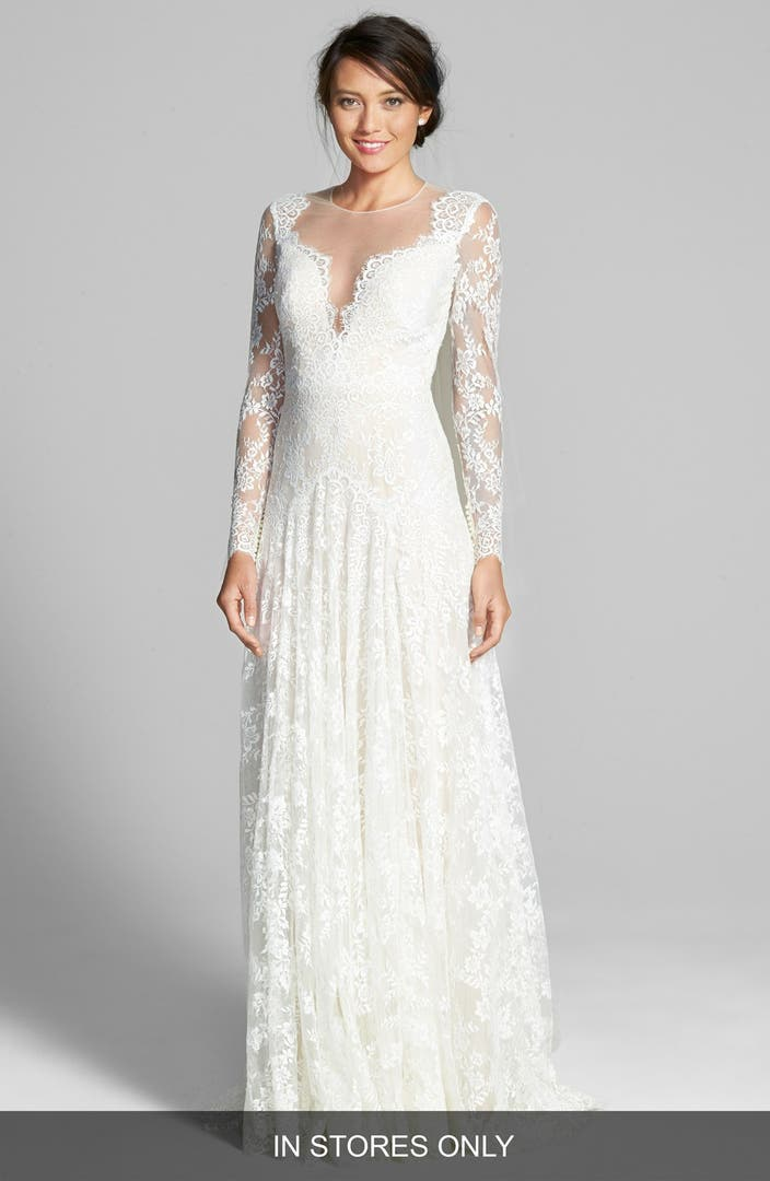 Watters 39 arcelia 39 illusion yoke a line lace gown in for Old lady wedding dresses