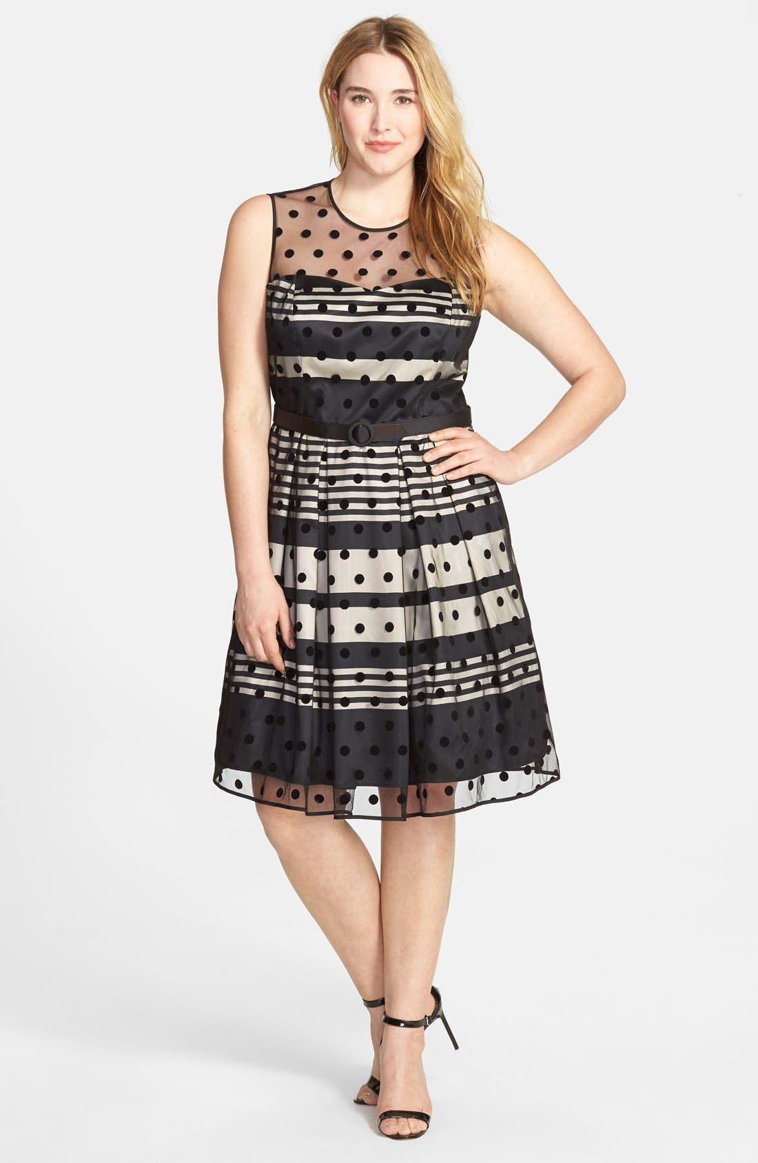 Alternate Image 3  - Eliza J Stripe Fit & Flare Dress with Dot Mesh Overlay (Plus Size)