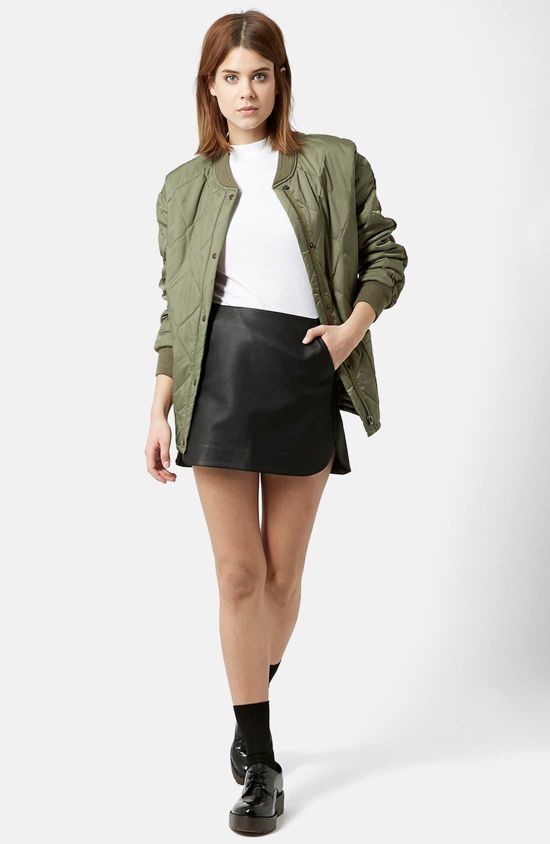 Alternate Image 5  - Topshop Curved Hem Faux Leather Miniskirt