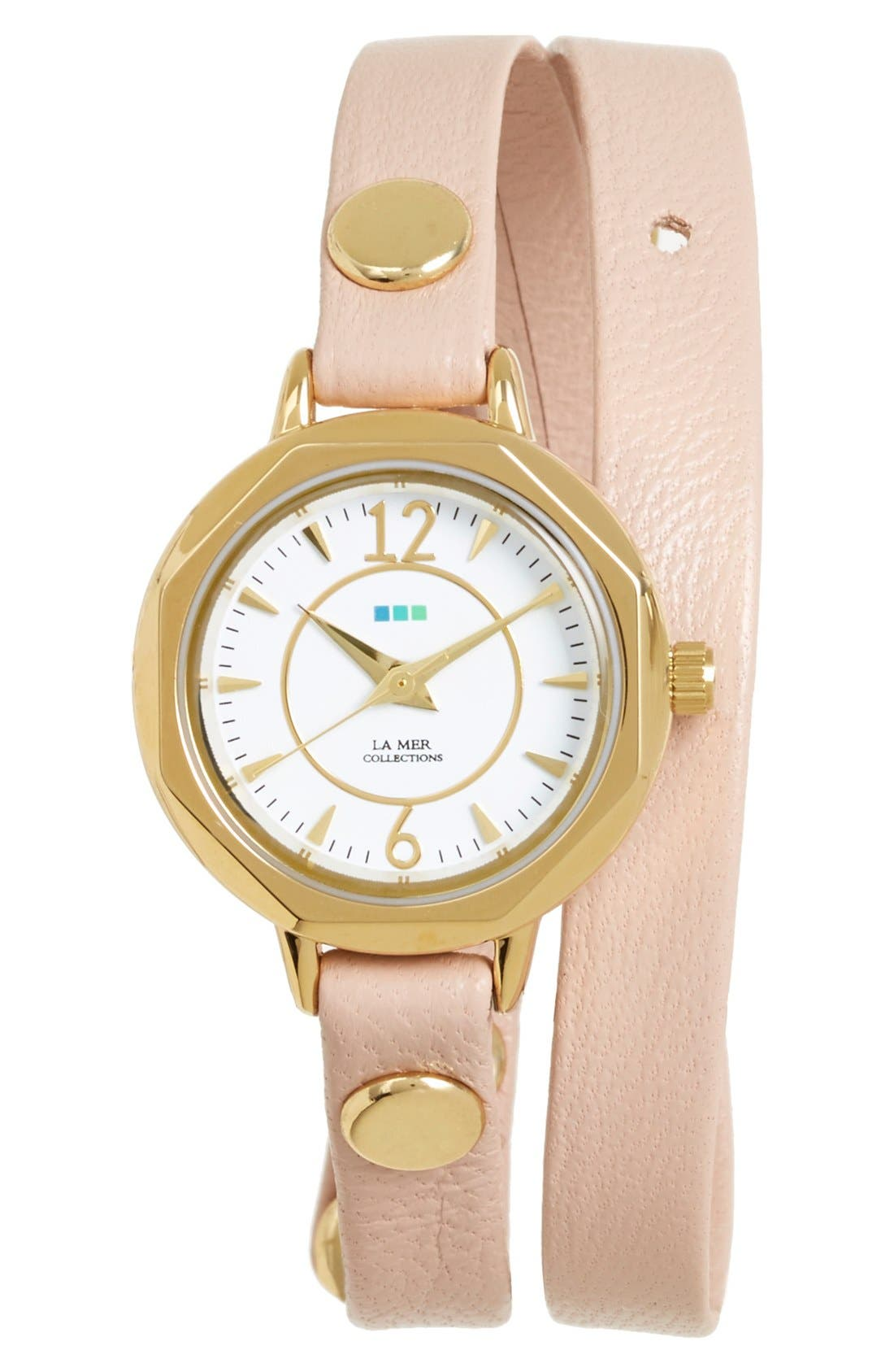 Main Image - La Mer Collections 'Del Mar' Leather Strap Wrap Watch, 19mm