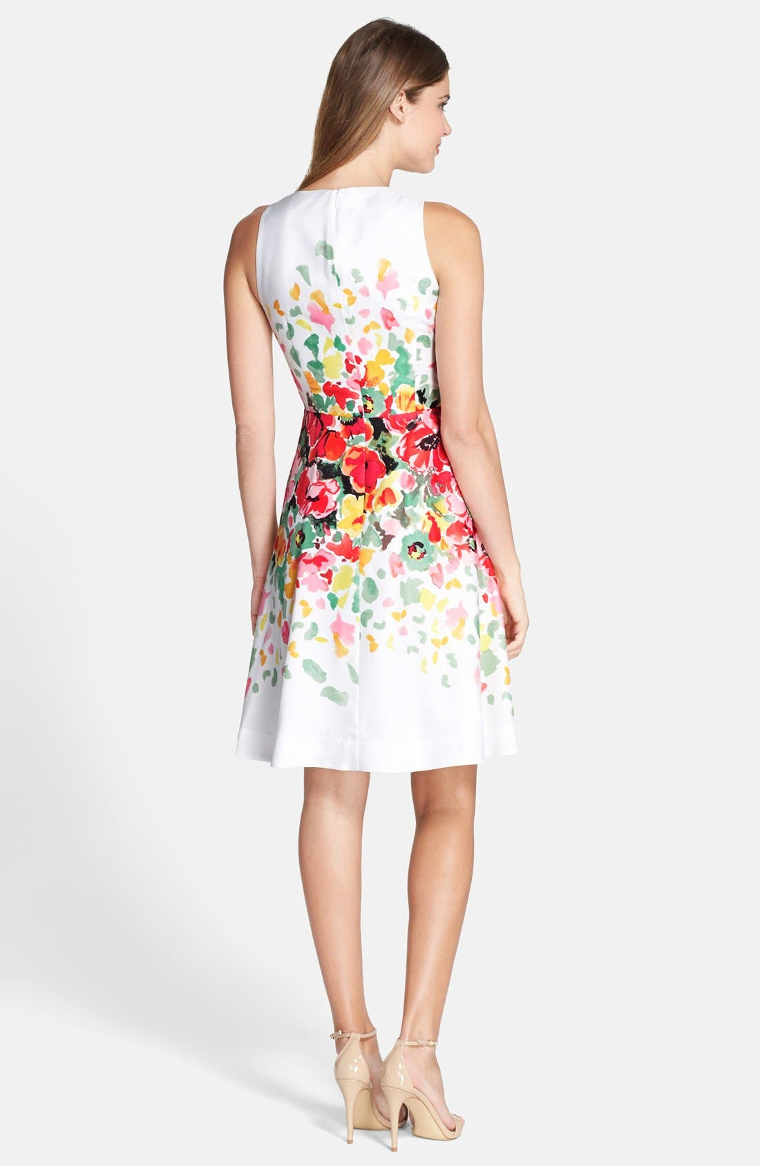 Alternate Image 2  - Donna Morgan Floral Print Twill Fit & Flare Dress