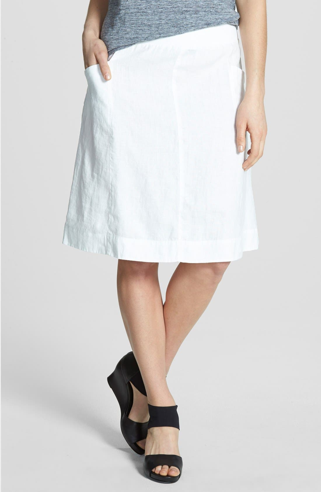 Eileen Fisher Organic Linen Knee Length Skirt (Regular & Petite) (Online Only)