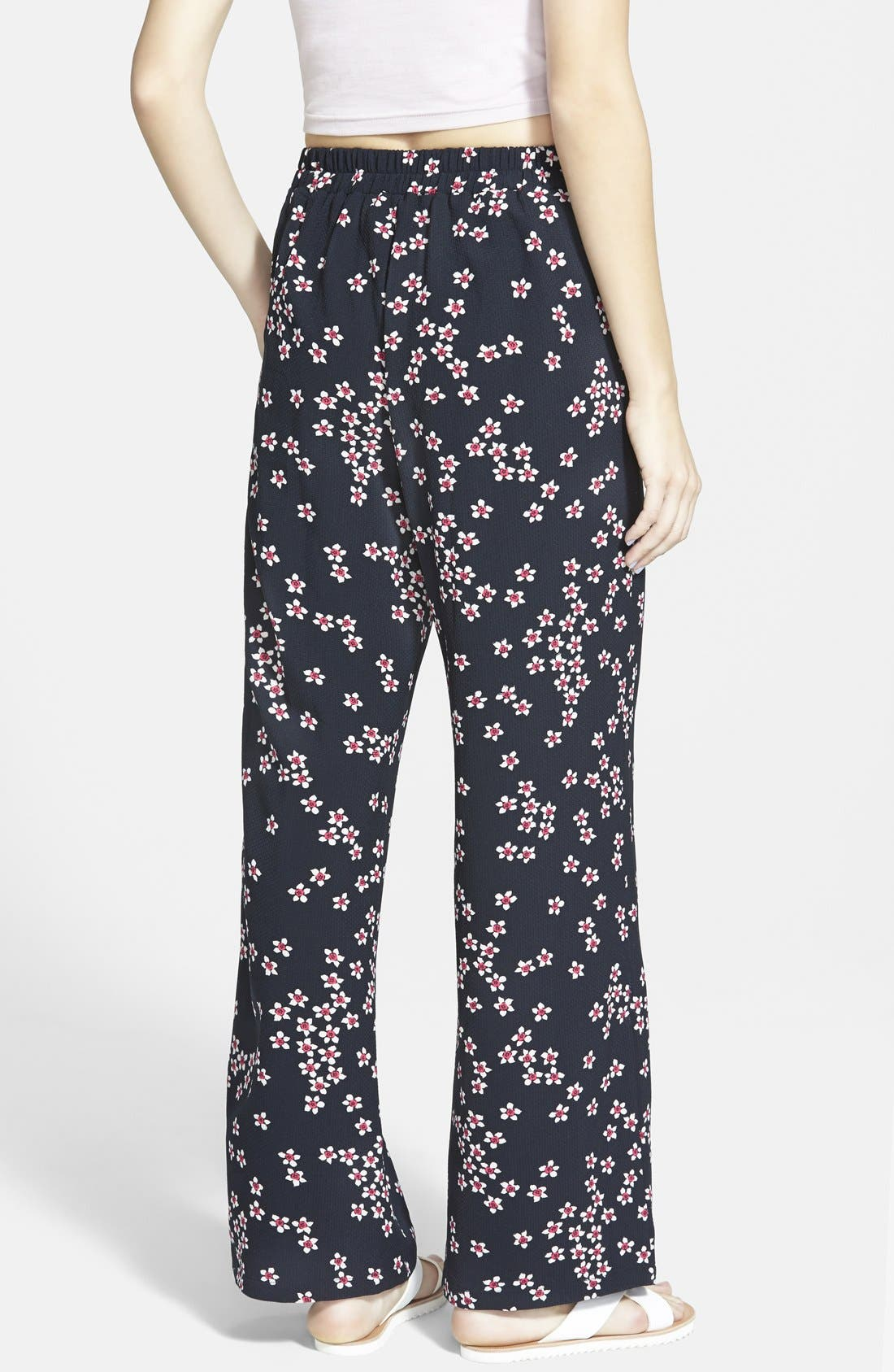 Alternate Image 2  - Sugarhill Boutique Floral Print Palazzo Pants (Juniors)
