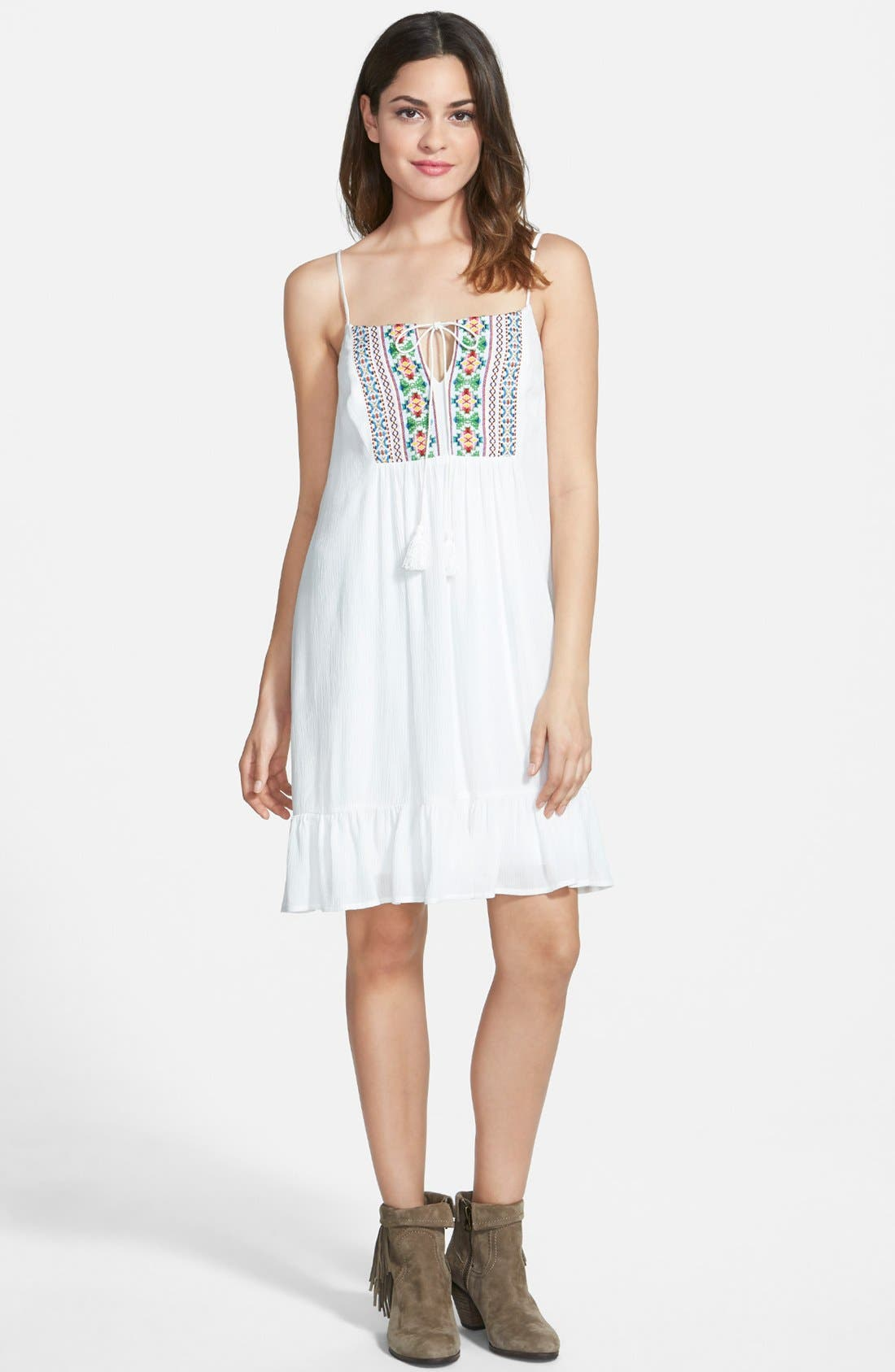 Alternate Image 1 Selected - Way-In Embroidered Ruffle Hem Dress