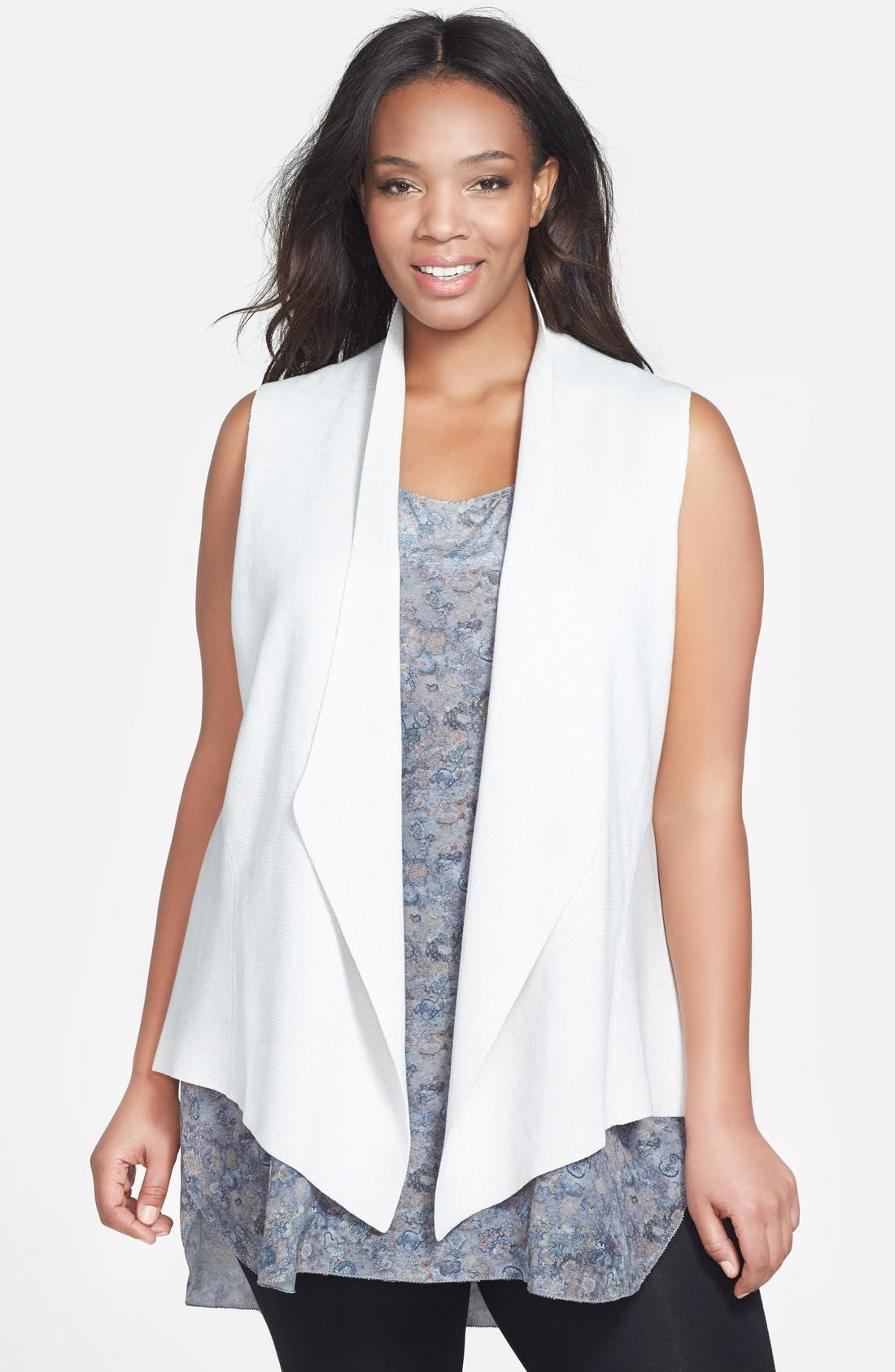 Alternate Image 1 Selected - Eileen Fisher Angle Front Silk Blend Vest (Plus Size)