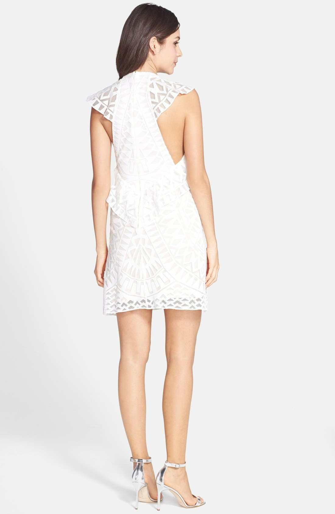 Alternate Image 2  - BCBGMAXAZRIA Ruffle Front Burnout Lace Shift Dress