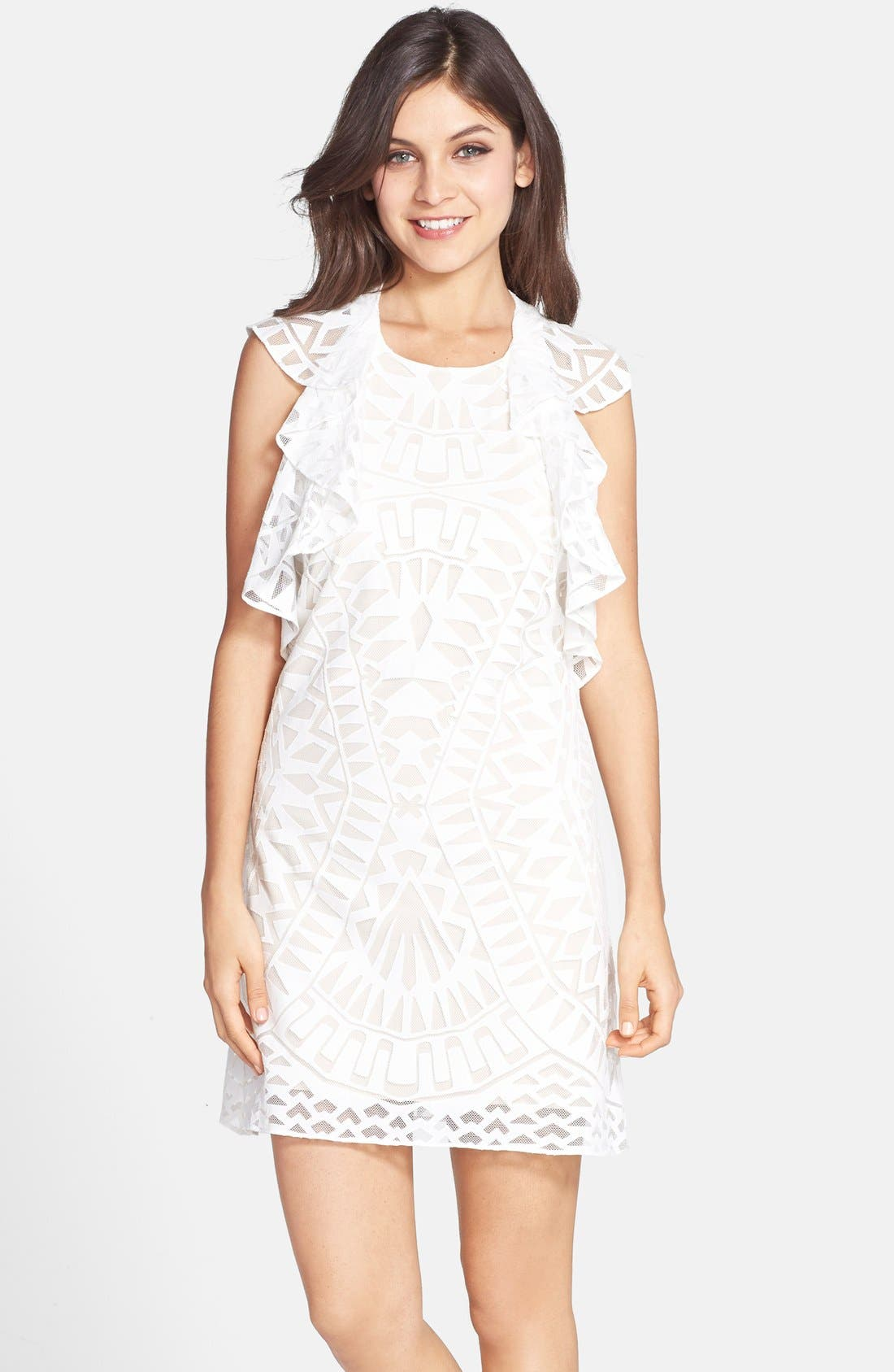 Main Image - BCBGMAXAZRIA Ruffle Front Burnout Lace Shift Dress