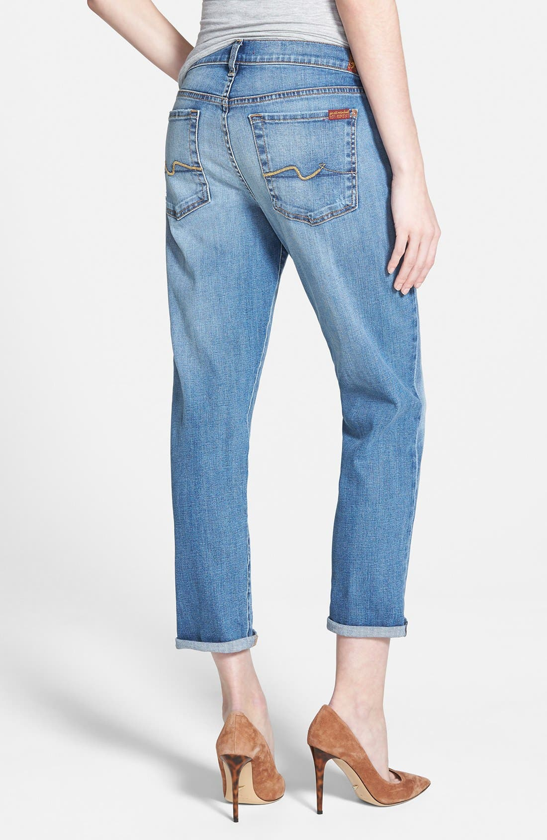 Alternate Image 2  - 7 For All Mankind® 'Josefina' Mid Rise Boyfriend Jeans (Sloan Heritage Medium Light)