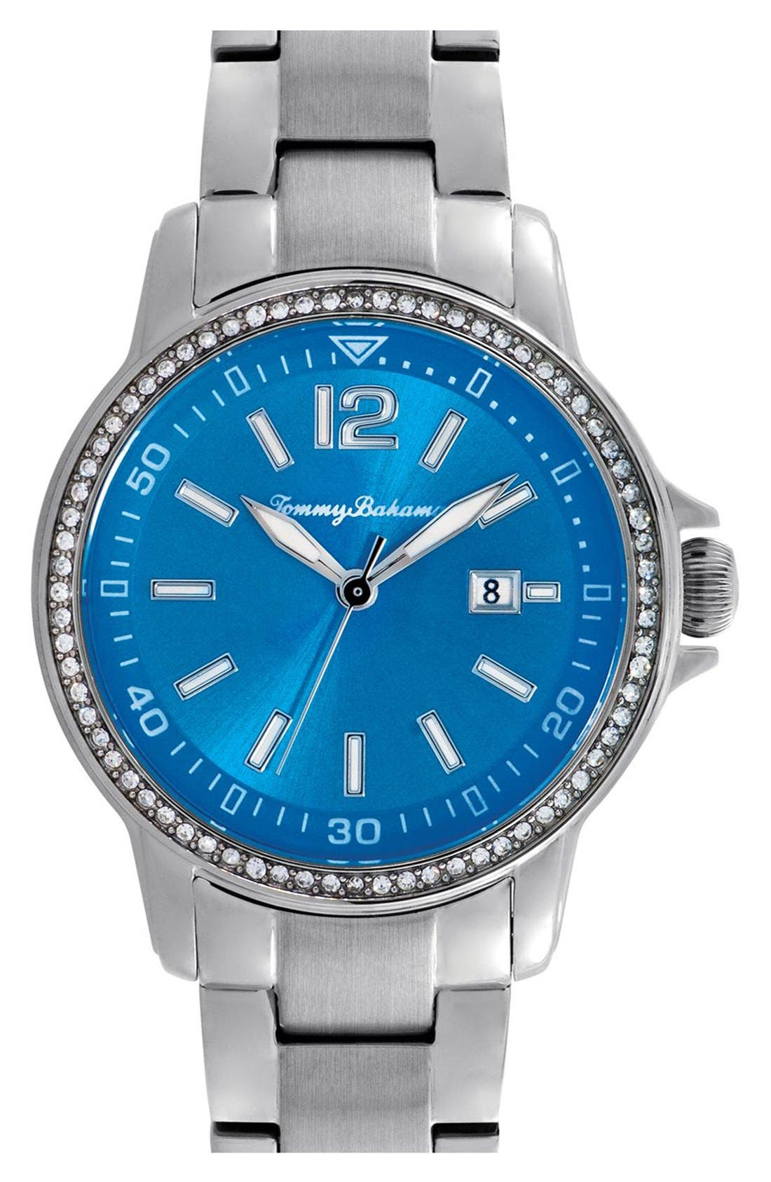 Main Image - Tommy Bahama 'Island Breeze' Crystal Bezel Bracelet Watch, 33mm