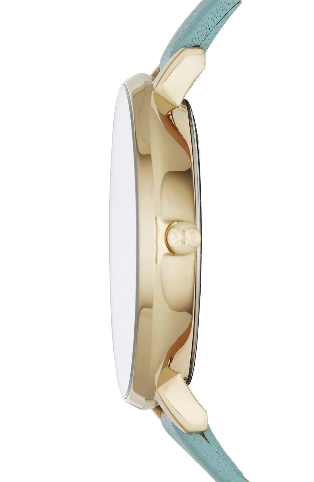 Alternate Image 2  - Skagen 'Gitte' Round Slim Leather Strap Watch, 38mm