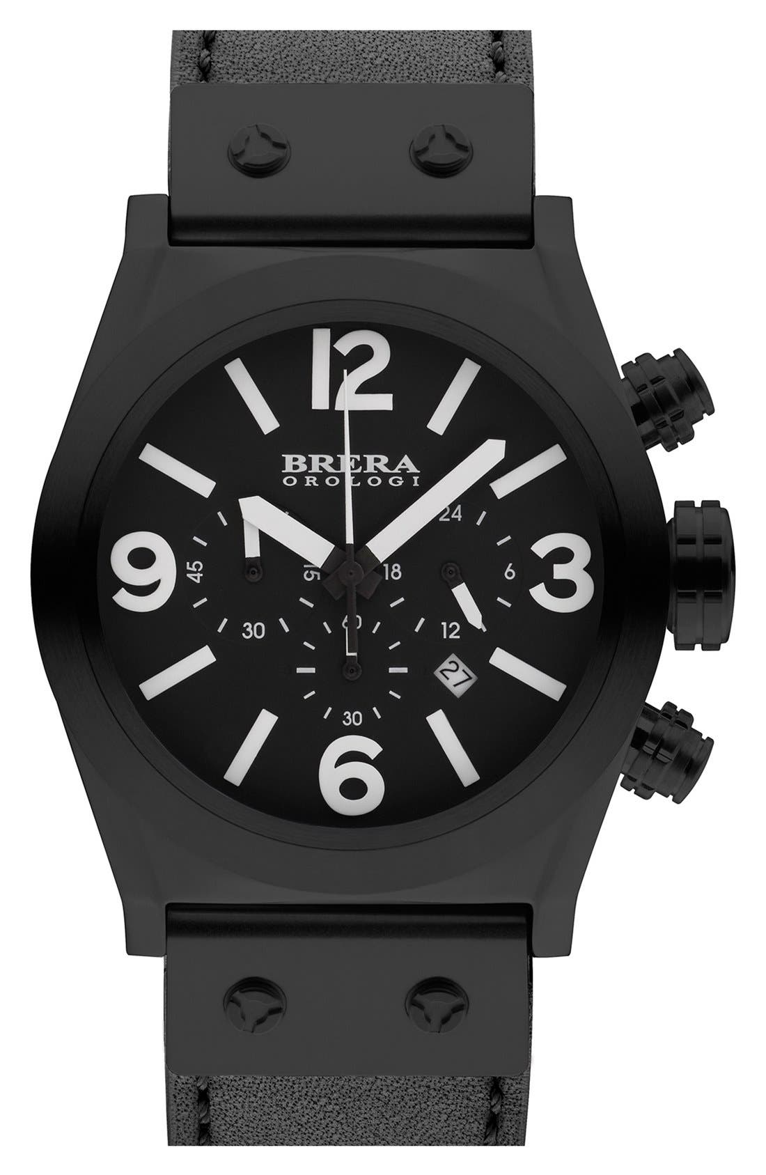 Alternate Image 1 Selected - Brera Orologi 'Eterno Piccolo' Chronograph Leather Strap Watch, 38mm (Nordstrom Exclusive)