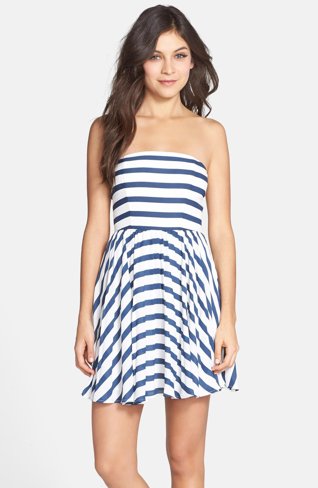 Alternate Image 1 Selected - BB Dakota 'Aleta' Stripe Strapless Fit & Flare Dress