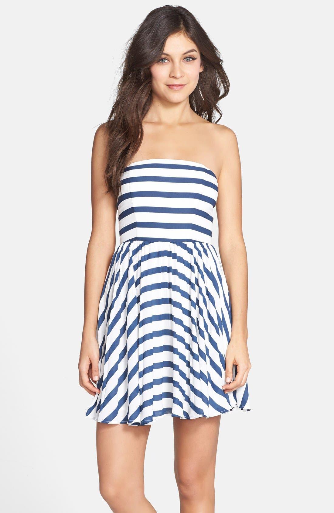 Main Image - BB Dakota 'Aleta' Stripe Strapless Fit & Flare Dress
