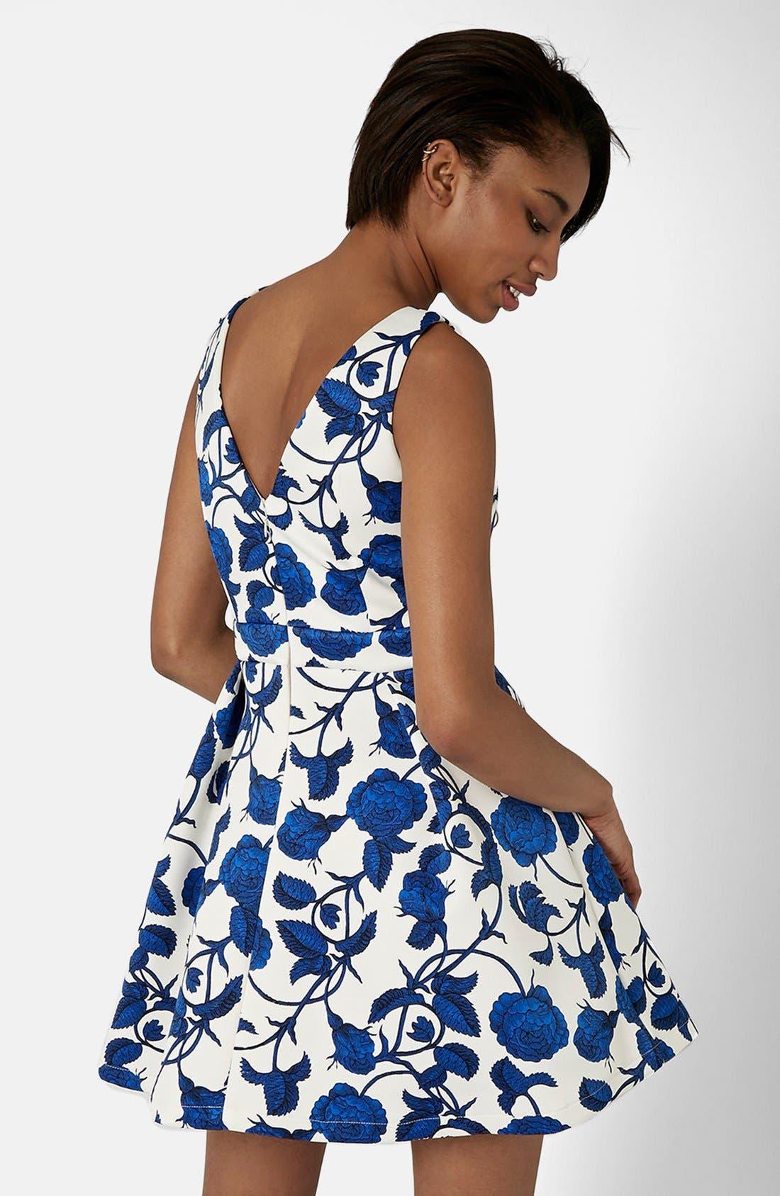 Alternate Image 2  - Topshop Cutout Rose Print Dress