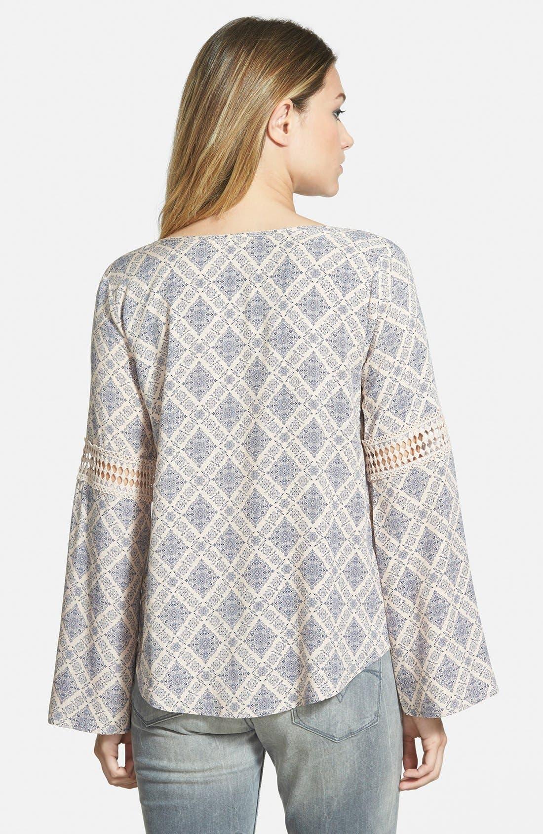 Alternate Image 2  - Elodie Crochet Inset Peasant Top (Juniors)