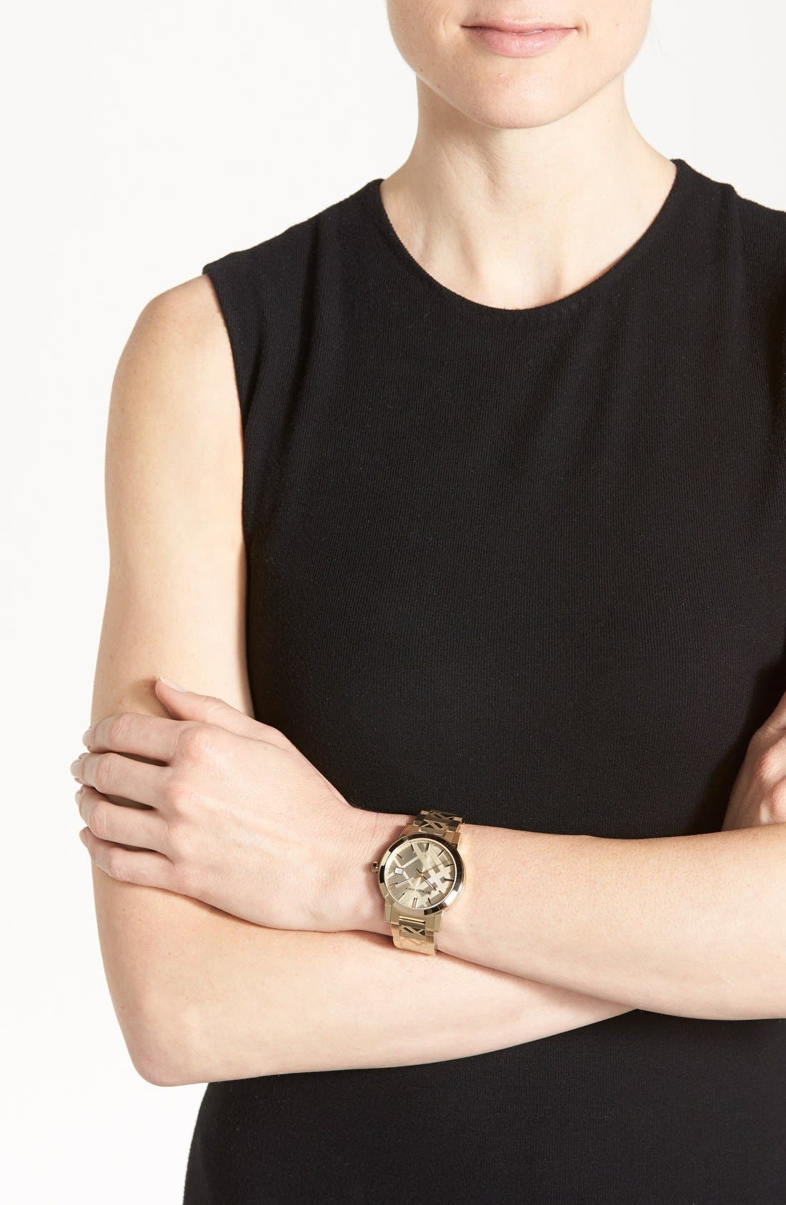 Alternate Image 4  - Burberry Check Stamped Bracelet Watch, 38mm