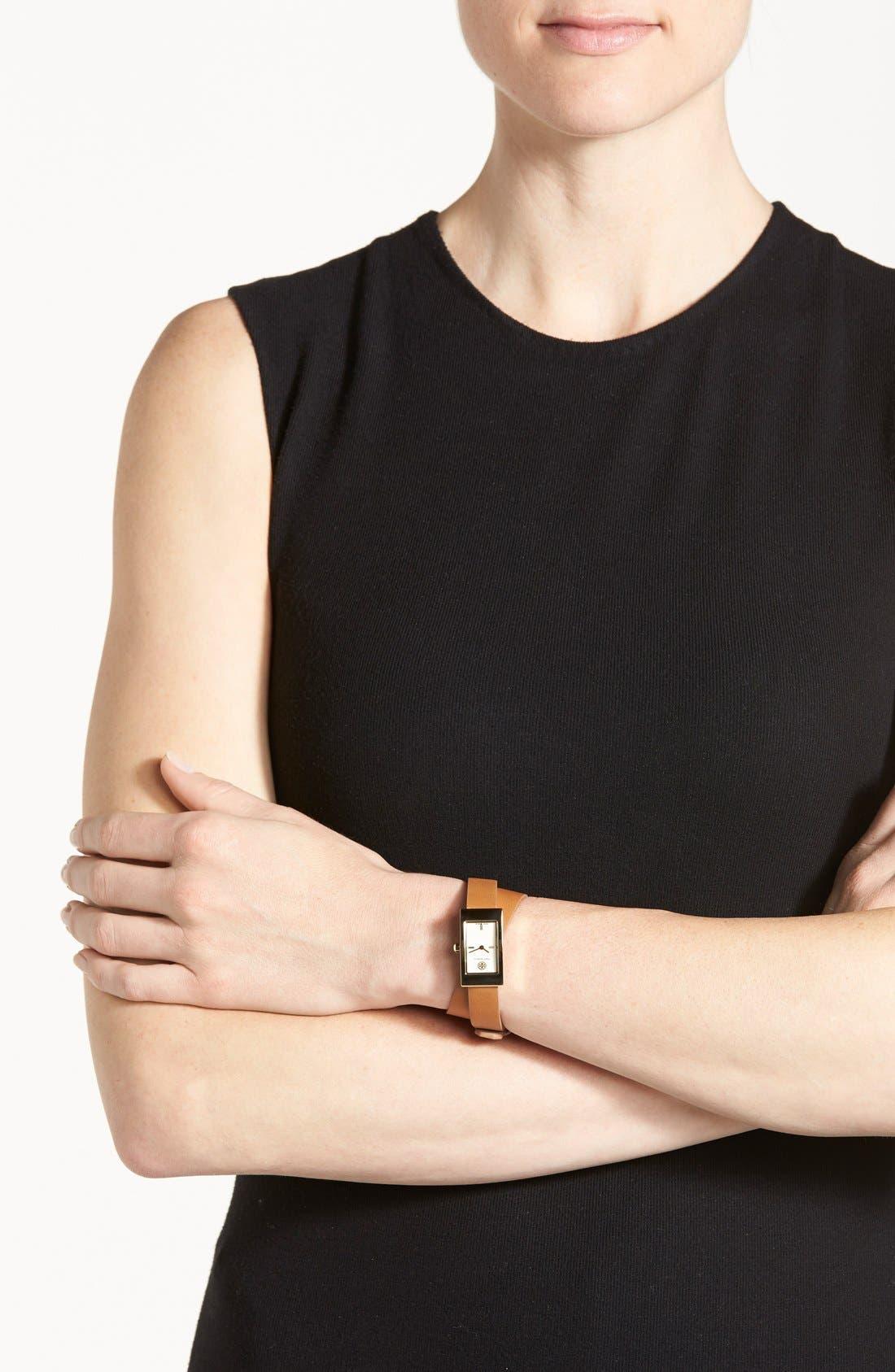 Alternate Image 4  - Tory Burch 'Buddy Signature' Rectangular Wrap Leather Strap Watch, 17mm x 31mm