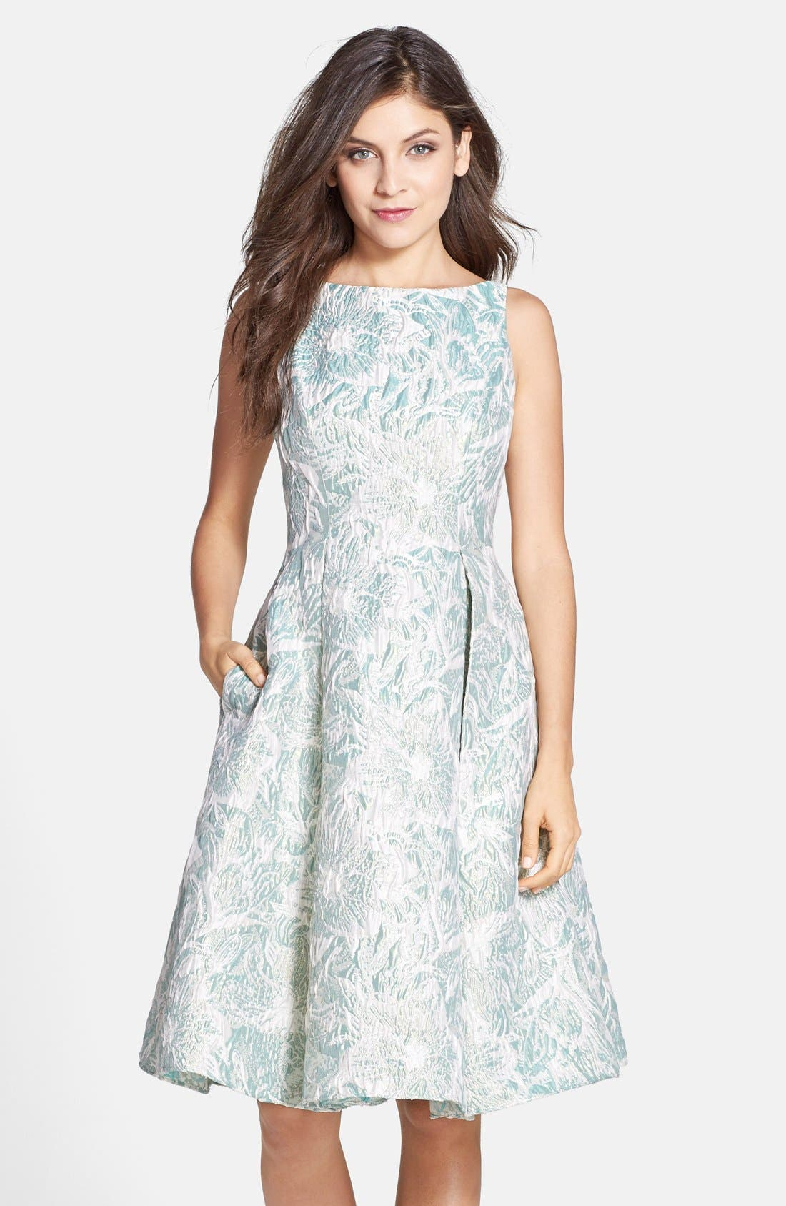 Main Image - Adrianna Papell Metallic Floral Jacquard Tea Length Fit & Flare Dress