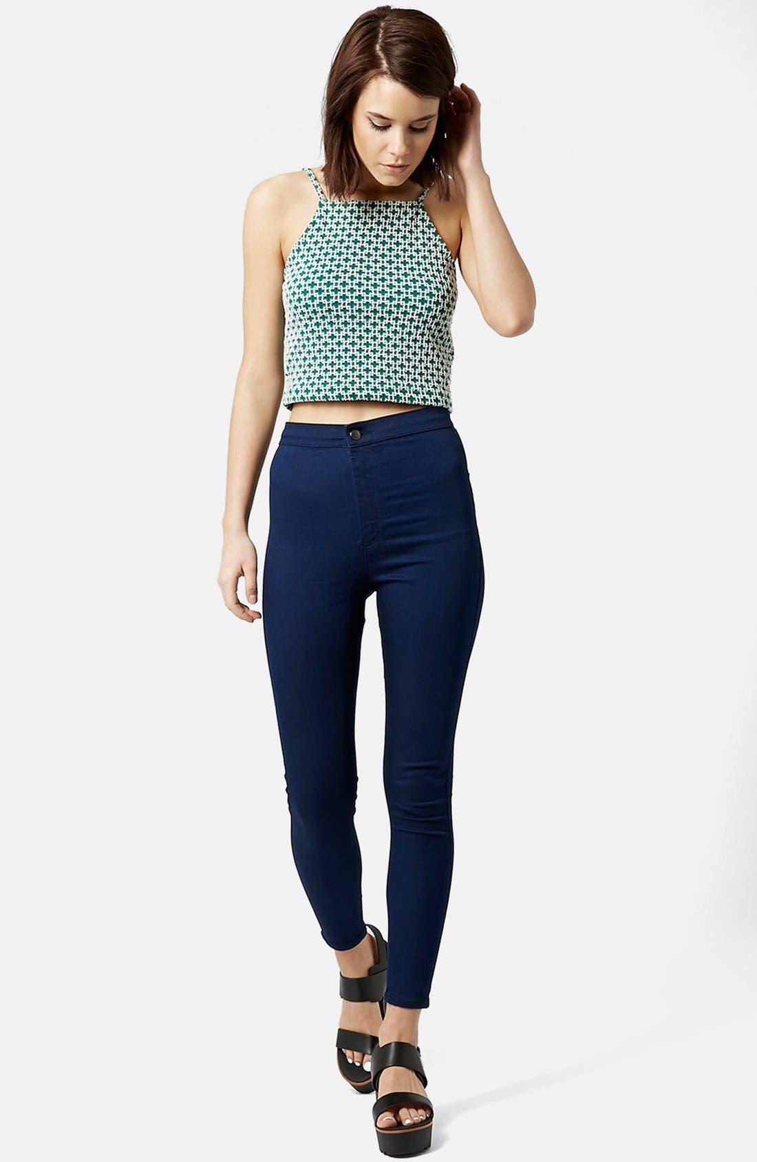Alternate Image 5  - Topshop Moto 'Joni' High Rise Skinny Jeans (Bright Blue)