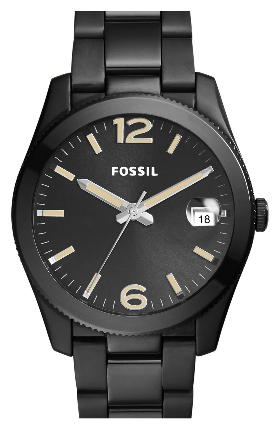 Alternate Image 1 Selected - Fossil 'Perfect Boyfriend' Round Bracelet Watch, 39mm