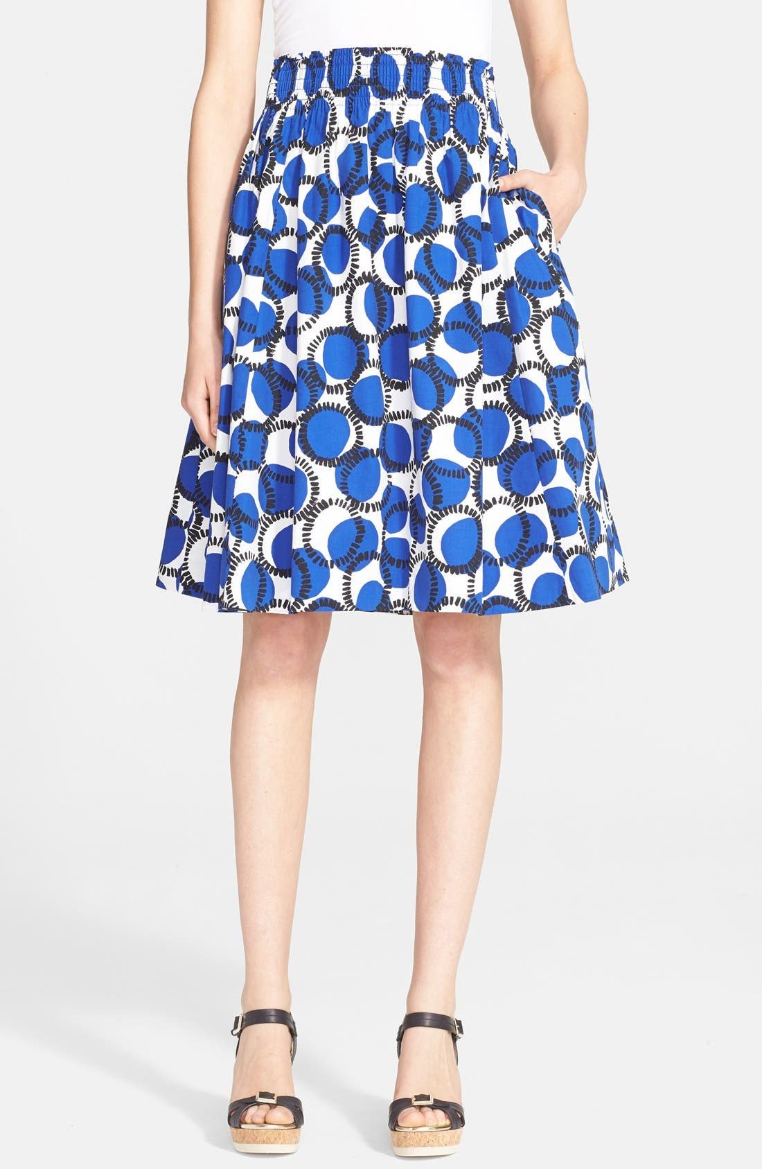 Main Image - kate spade new york 'stamped dots blaire' print flare skirt