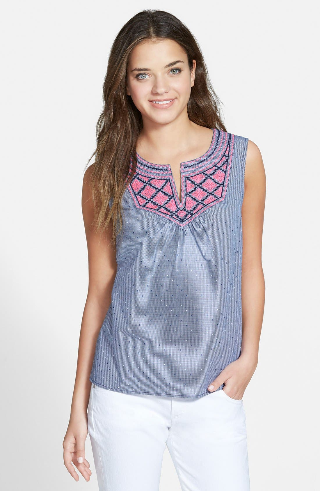 Alternate Image 1 Selected - Vineyard Vines Embroidered Sleeveless Top