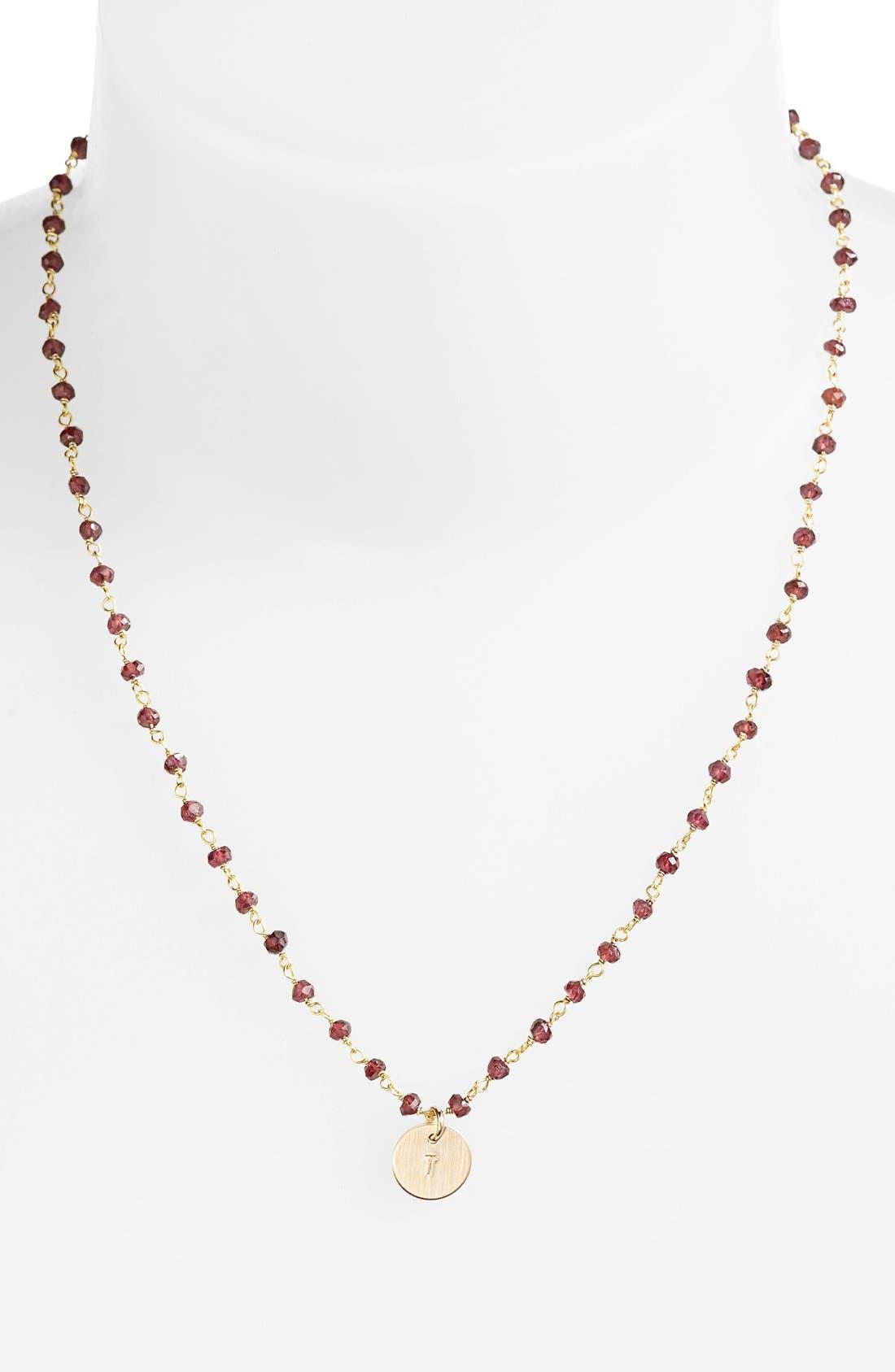 Alternate Image 1 Selected - Nashelle 14k-Gold Fill Mini Initial Disc Garnet Chain Necklace