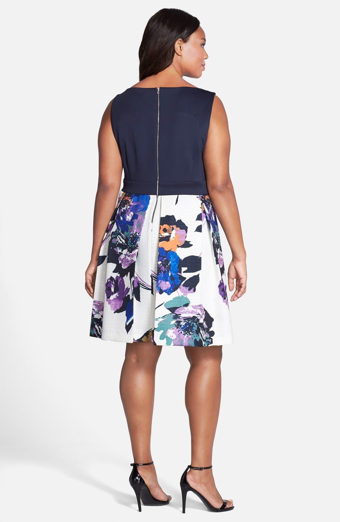 Alternate Image 2  - Gabby Skye Mixed Media Fit & Flare Dress (Plus Size)