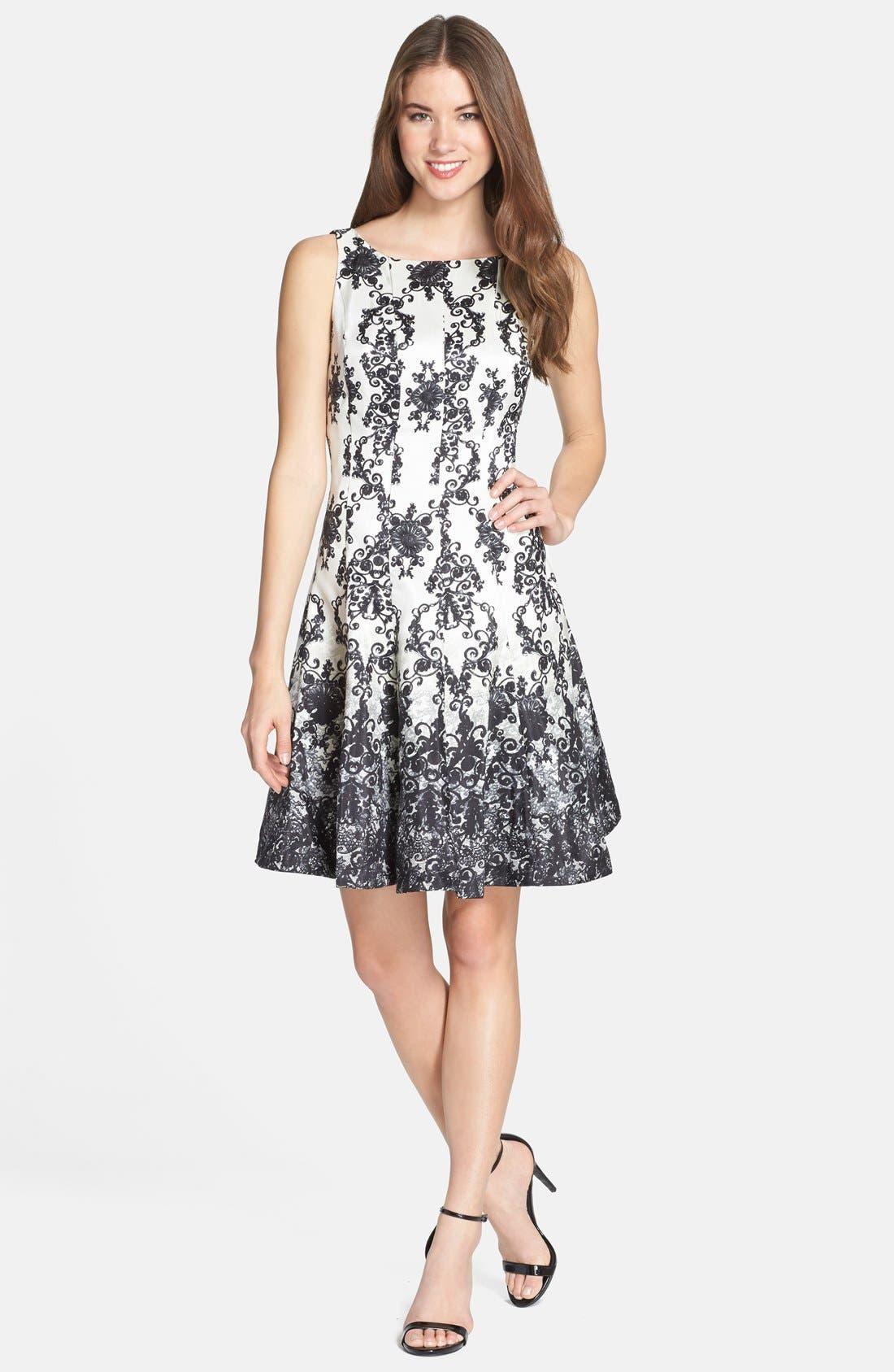 Alternate Image 3  - Taylor Dresses Print Shantung Fit & Flare Dress (Regular & Petite)