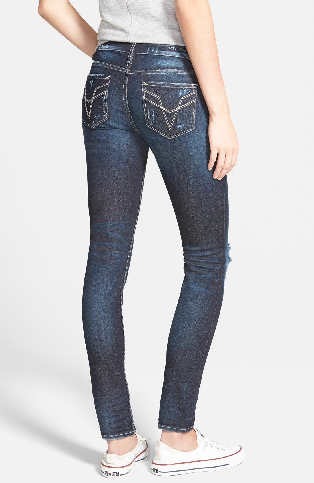 Alternate Image 2  - Vigoss Distressed Skinny Jeans (Dark)