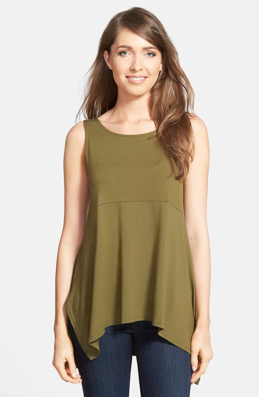 Main Image - Eileen Fisher Wide Neck Long Jersey Tank (Online Only)