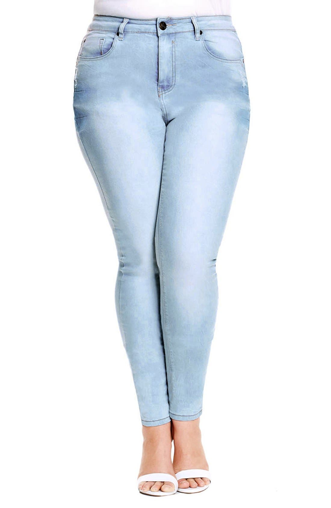 Alternate Image 1 Selected - City Chic 'Blue Baby' Stretch Skinny Jeans (Light Denim) (Plus Size)