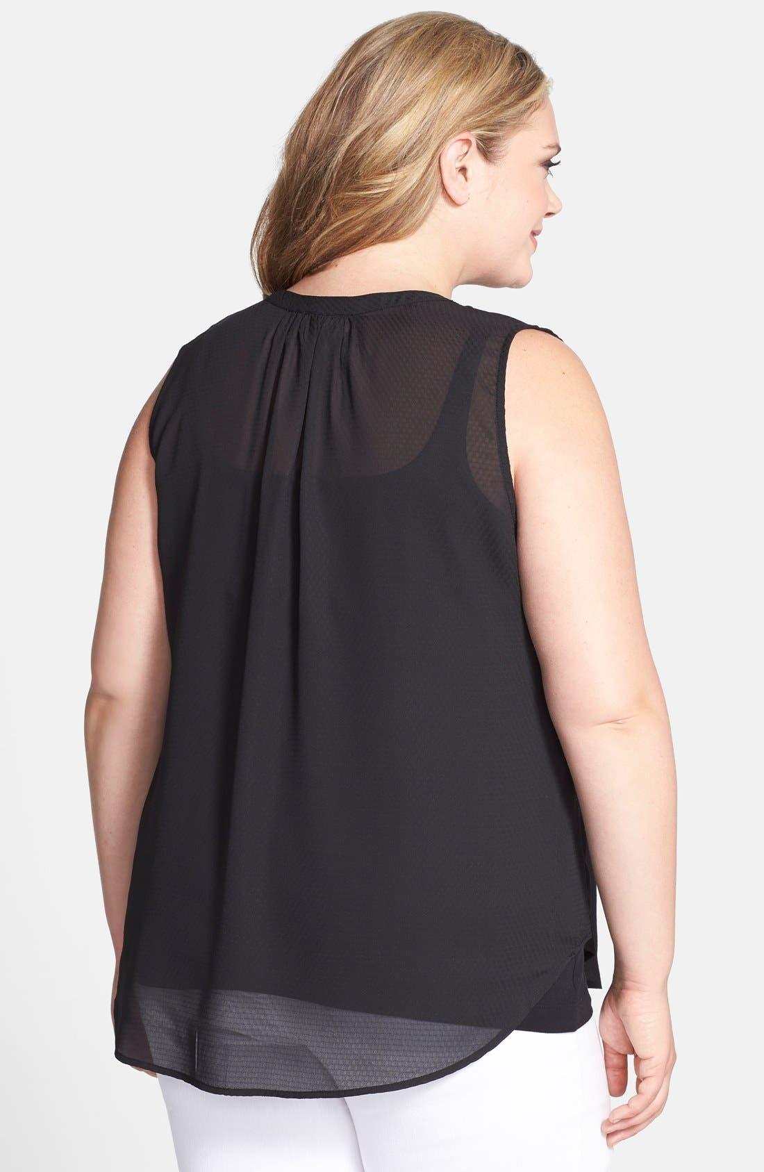 Alternate Image 2  - Jessica Simpson 'Carmela' Stripe Sleeveless Blouse (Plus Size)