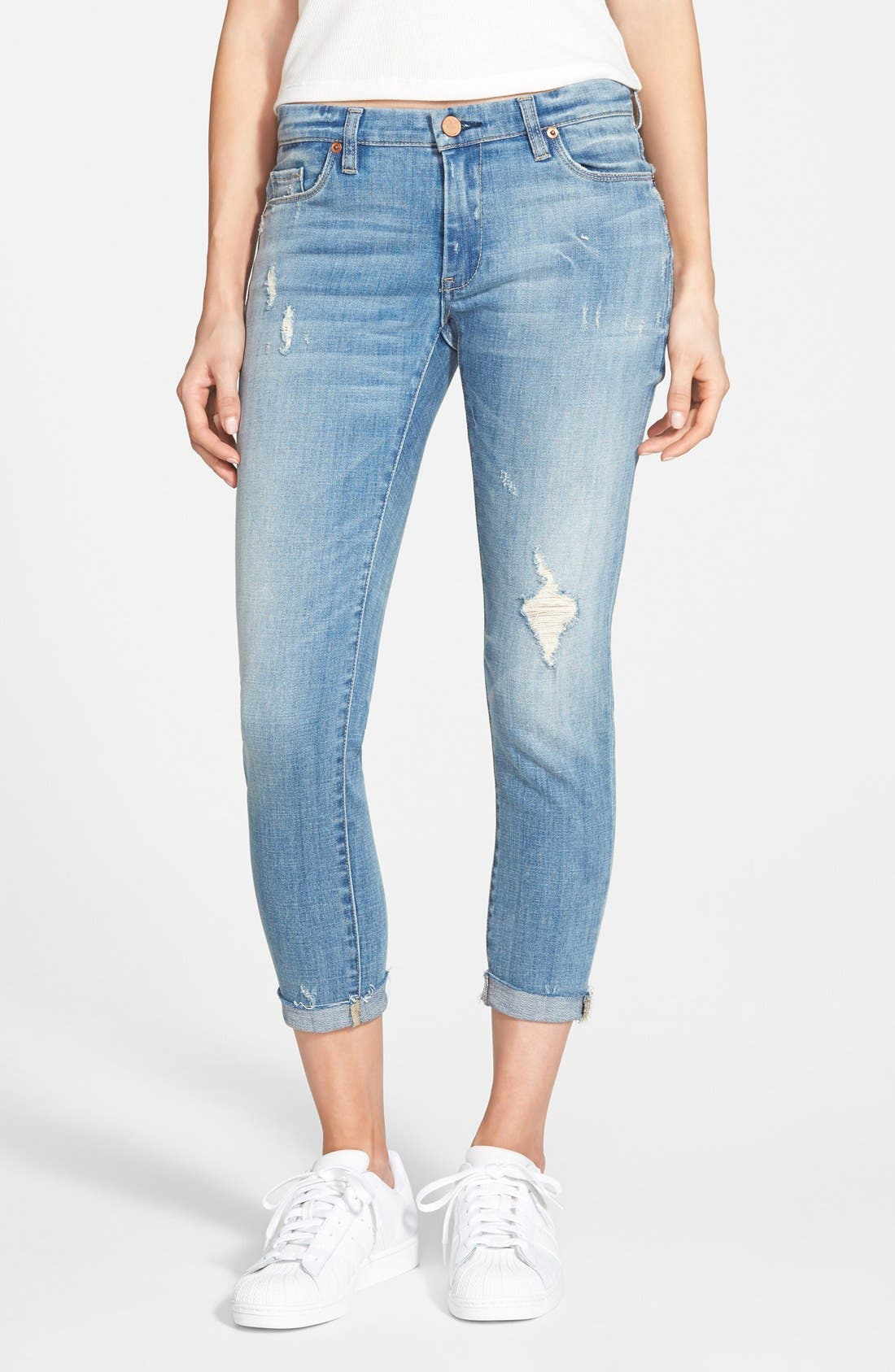 Main Image - BLANKNYC 'Kale Yeah' Distressed Skinny Jeans (Medium)