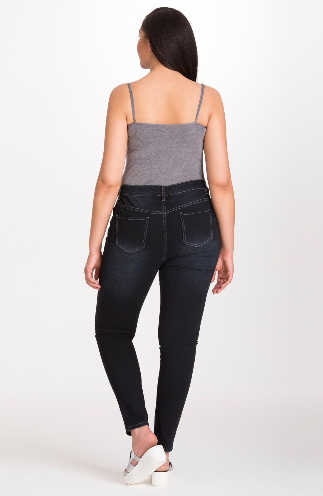 Alternate Image 2  - Mynt 1792 Stretch Distressed Skinny Jeans (Plus Size)