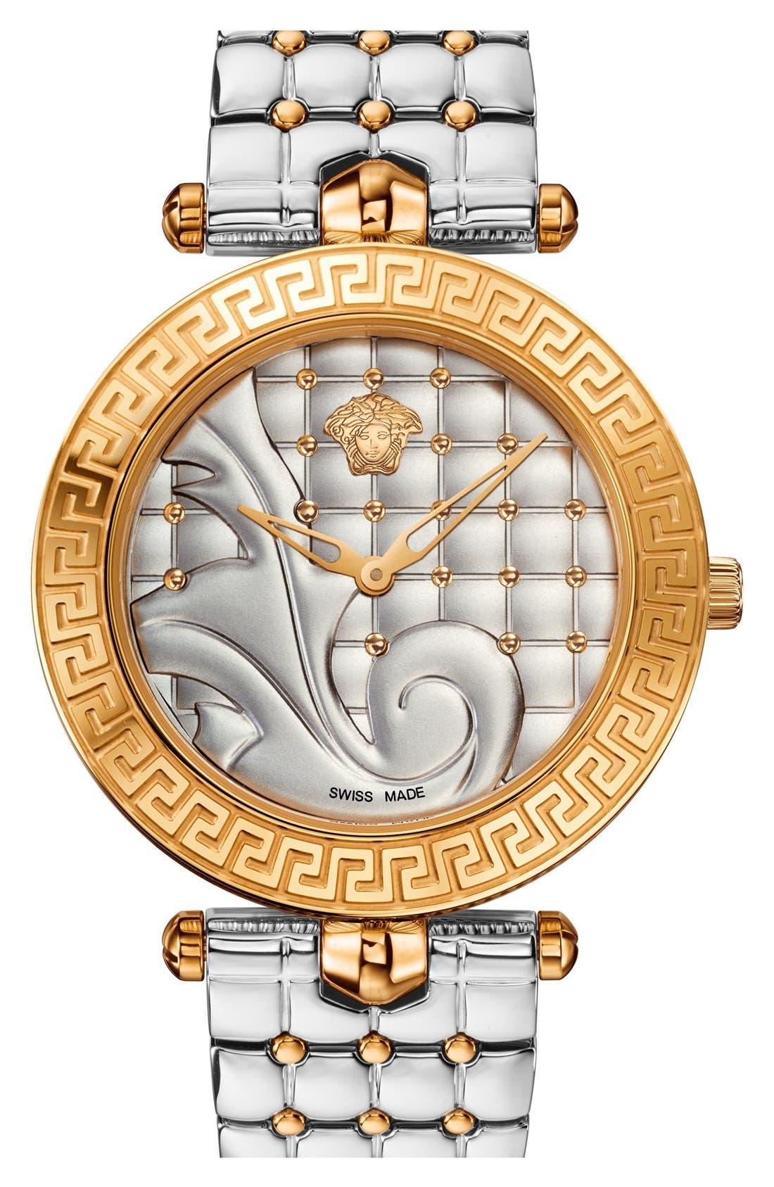 Alternate Image 1 Selected - Versace 'Vanitas' Quilted Bracelet Watch, 40mm