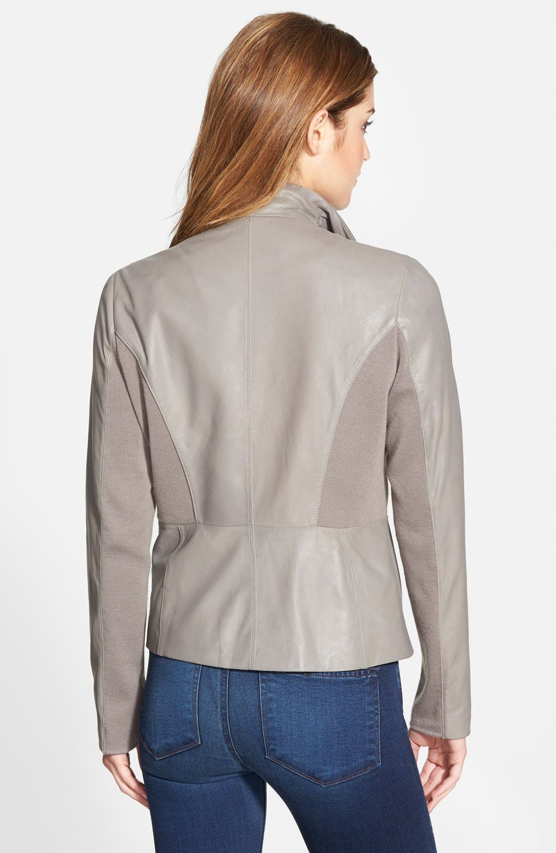 Alternate Image 2  - T Tahari 'Luisa' Knit Panel Drape Front Leather Jacket (Online Only)