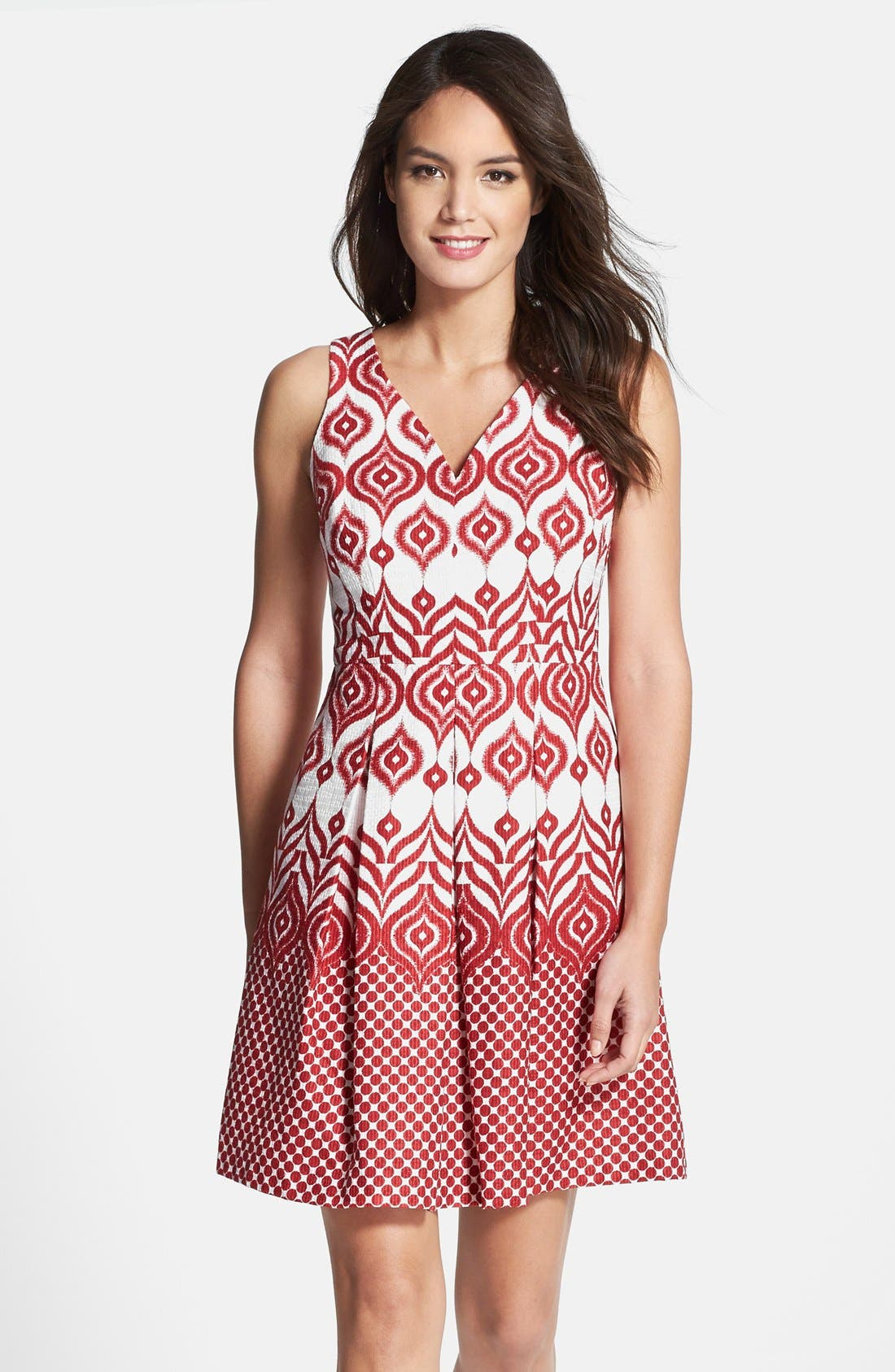 Alternate Image 1 Selected - Taylor Dresses Cotton Jacquard Fit & Flare Dress