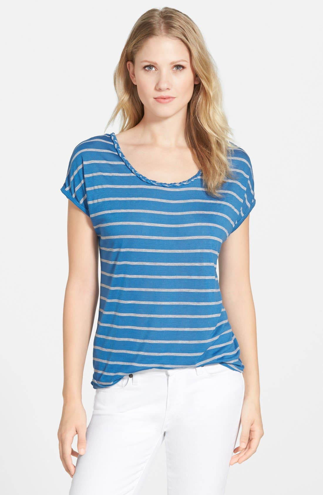 Alternate Image 2  - Two by Vince Camuto Braid Trim Stripe Tee