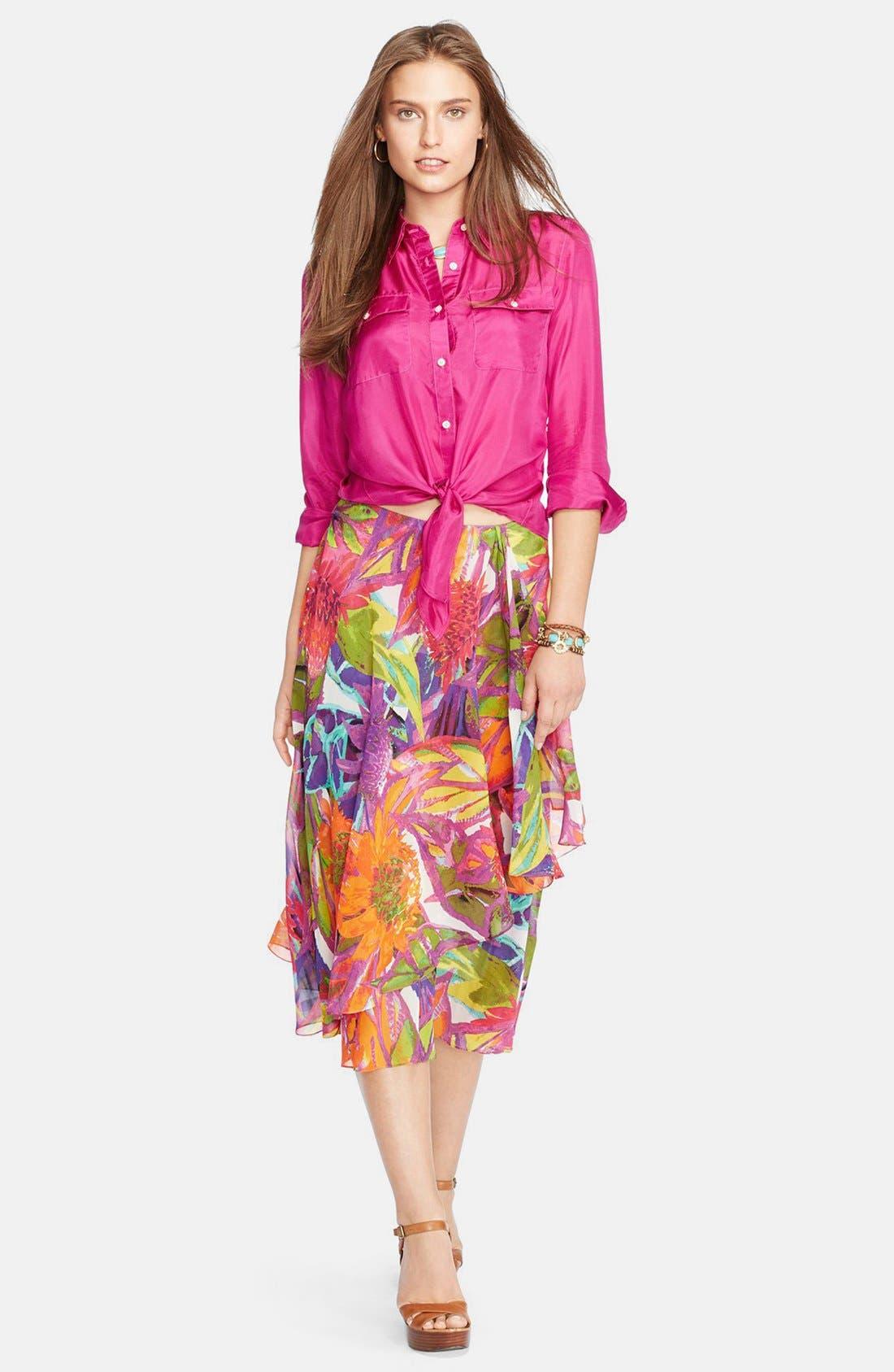 Alternate Image 3  - Lauren Ralph Lauren Ruffled Floral Faux Wrap Skirt