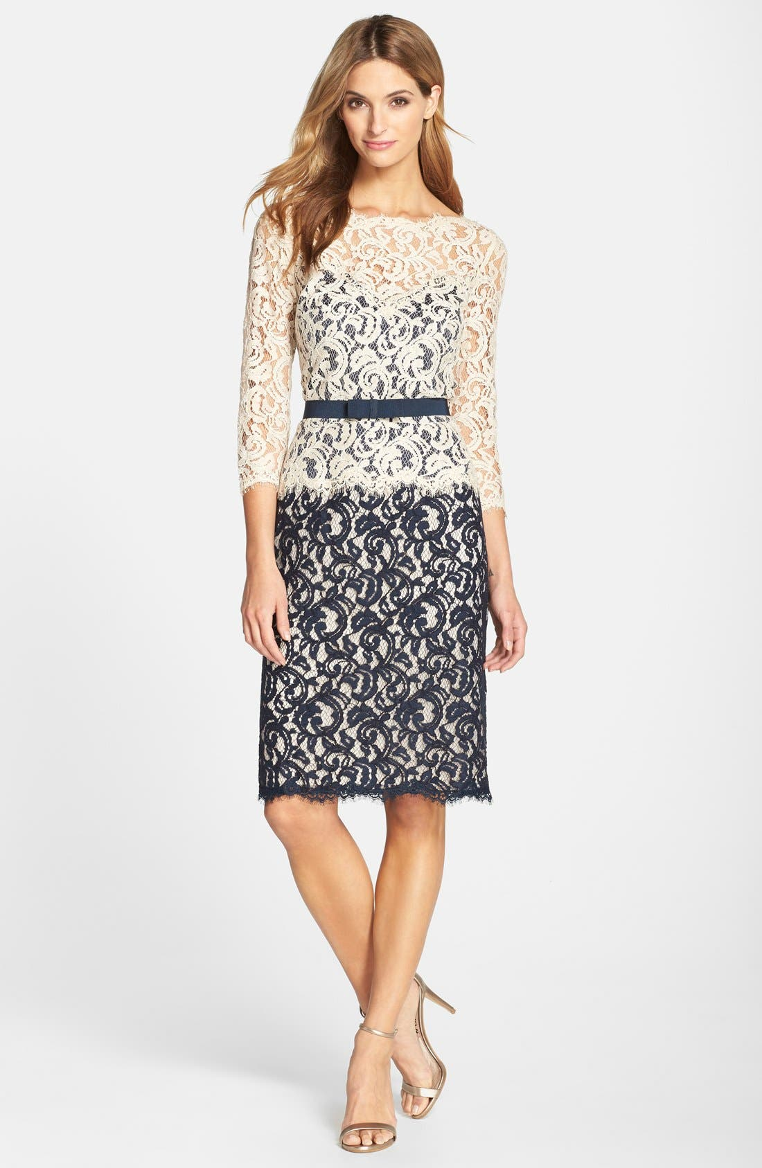 Alternate Image 3  - Tadashi Shoji Two-Tone Lace Sheath Dress (Regular & Petite)