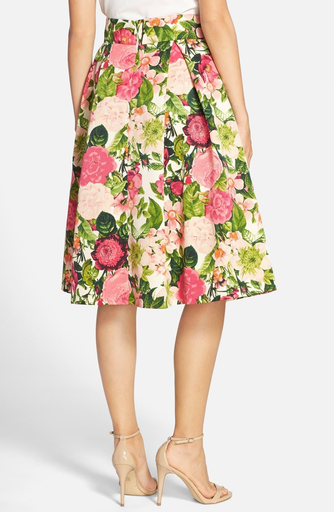 Alternate Image 2  - Eliza J Floral Print Faille Midi Skirt