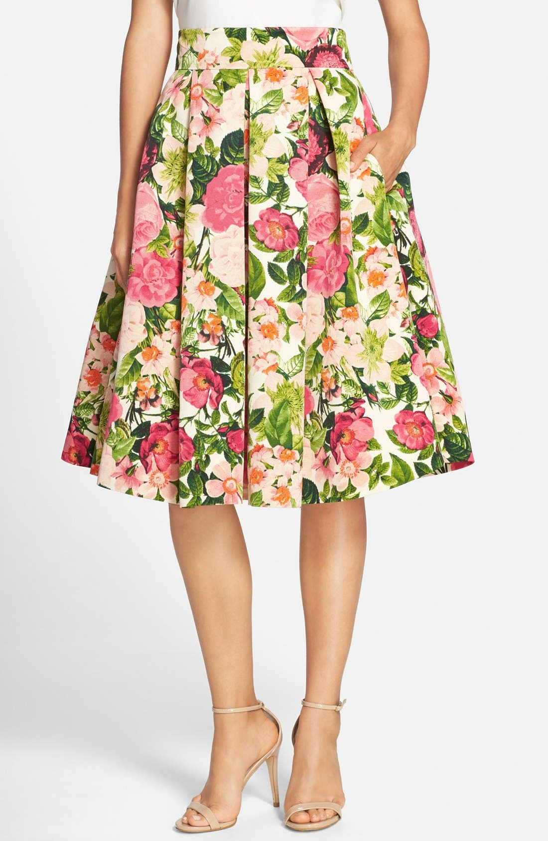 Main Image - Eliza J Floral Print Faille Midi Skirt