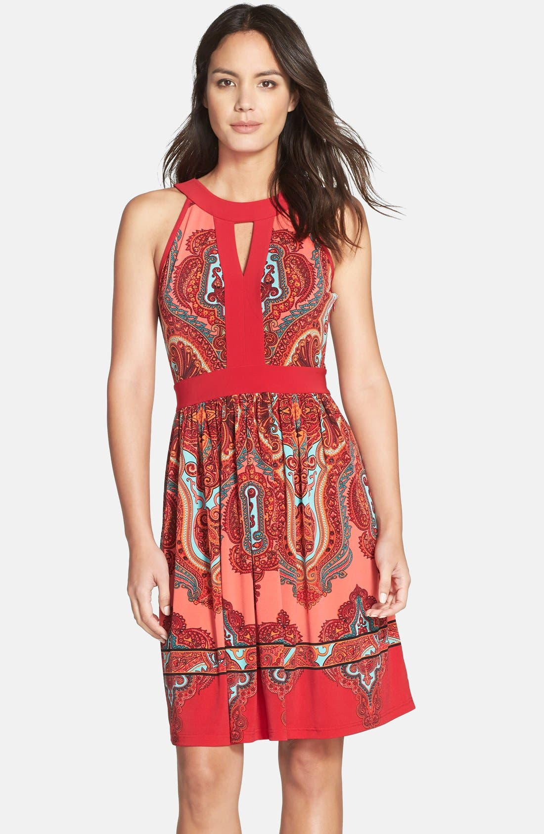 Alternate Image 1 Selected - Adrianna Papell Paisley Fit & Flare Dress