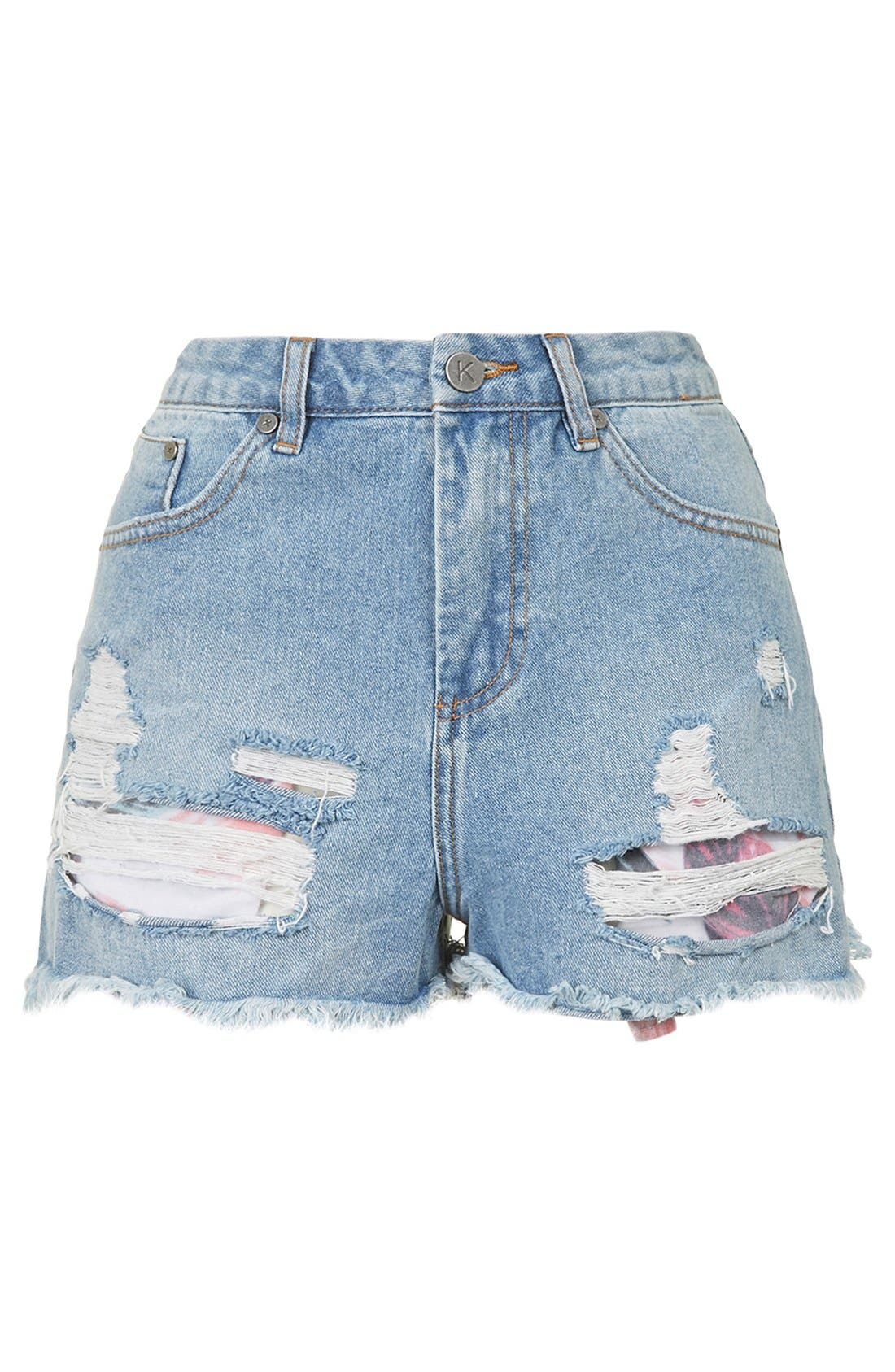 Alternate Image 4  - KENDALL + KYLIE at Topshop High Rise Denim Shorts (Blue)