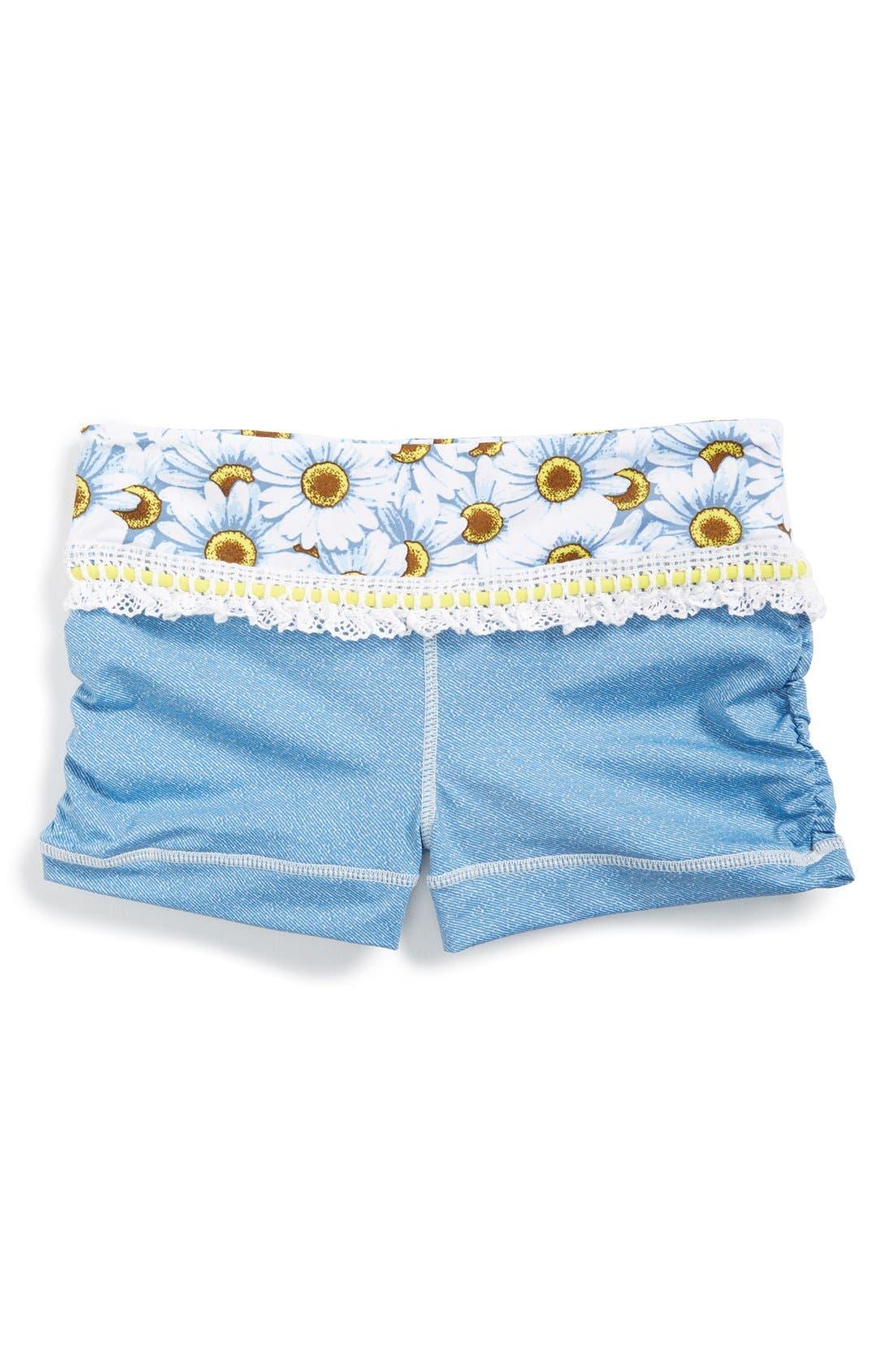 Alternate Image 1 Selected - California Kisses 'Wild Flower' Swim Shorts (Big Girls)