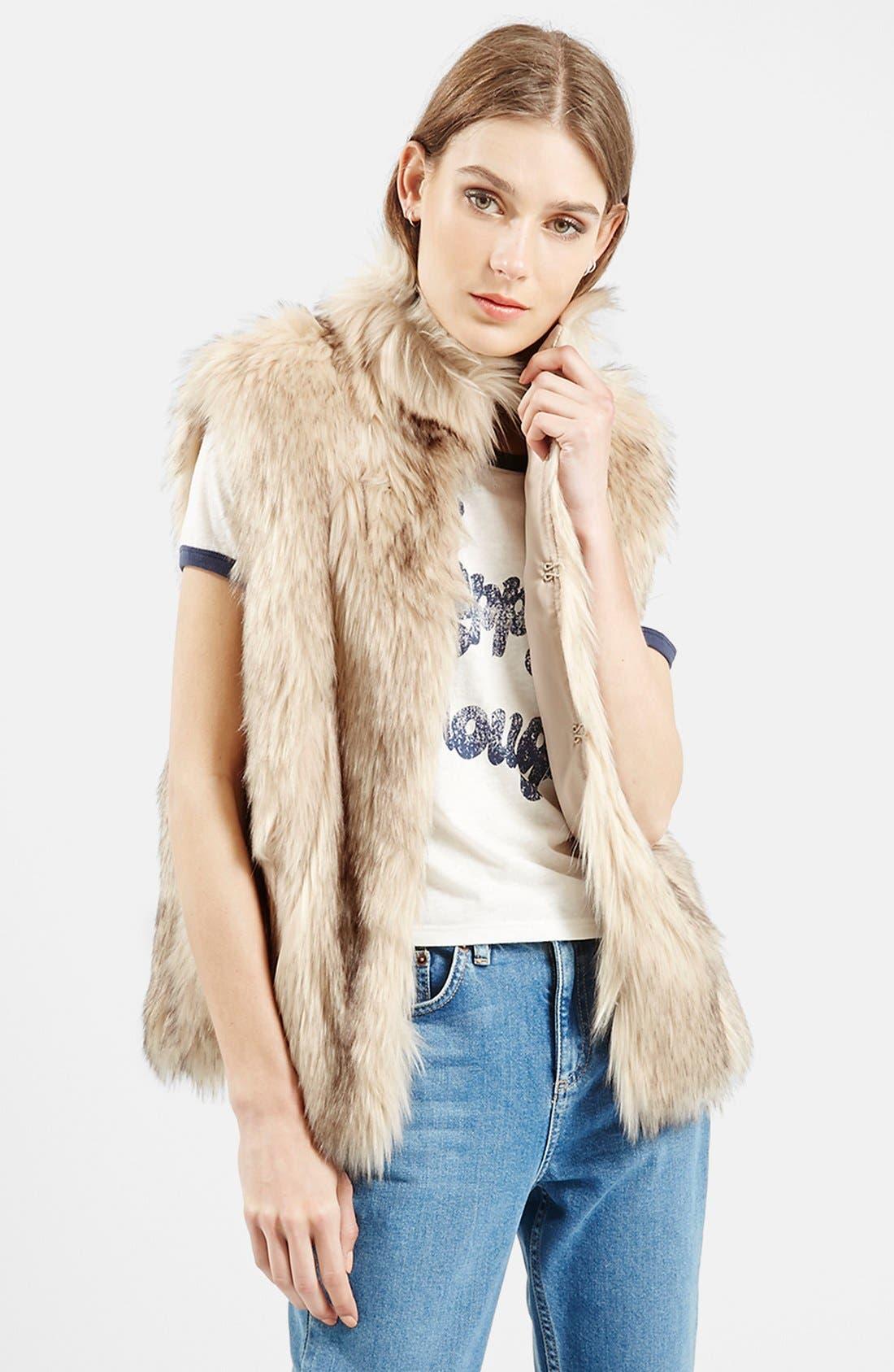 Main Image - Topshop 'Polo Leah' Faux Fur Vest